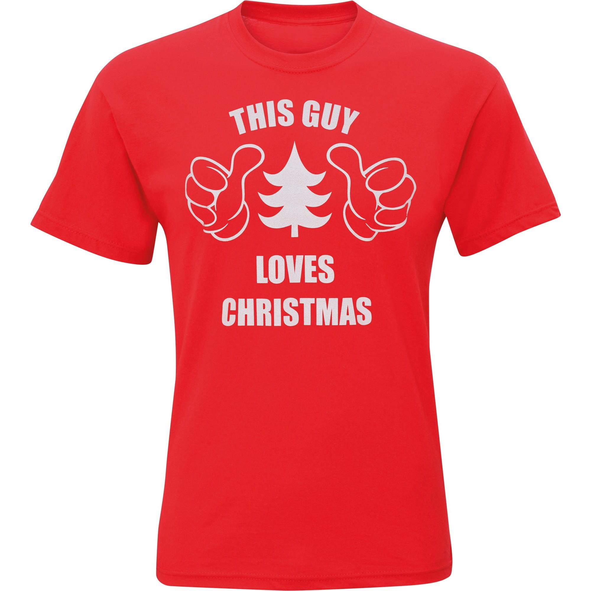 Christmas Shop Mens This Guy Loves Christmas Short Sleeve T-Shirt (L) (Red)
