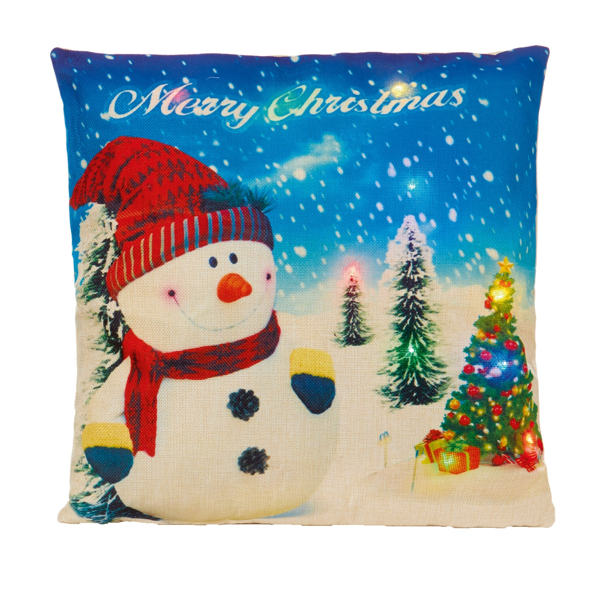 Christmas Shop Battery Operated LED Cushion (One Size) (Snowman)