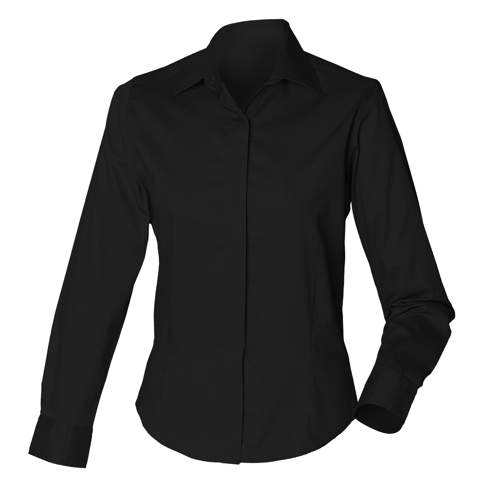 Henbury Womens/Ladies Long Sleeve Oxford Fitted Work Shirt (XS) (Black)