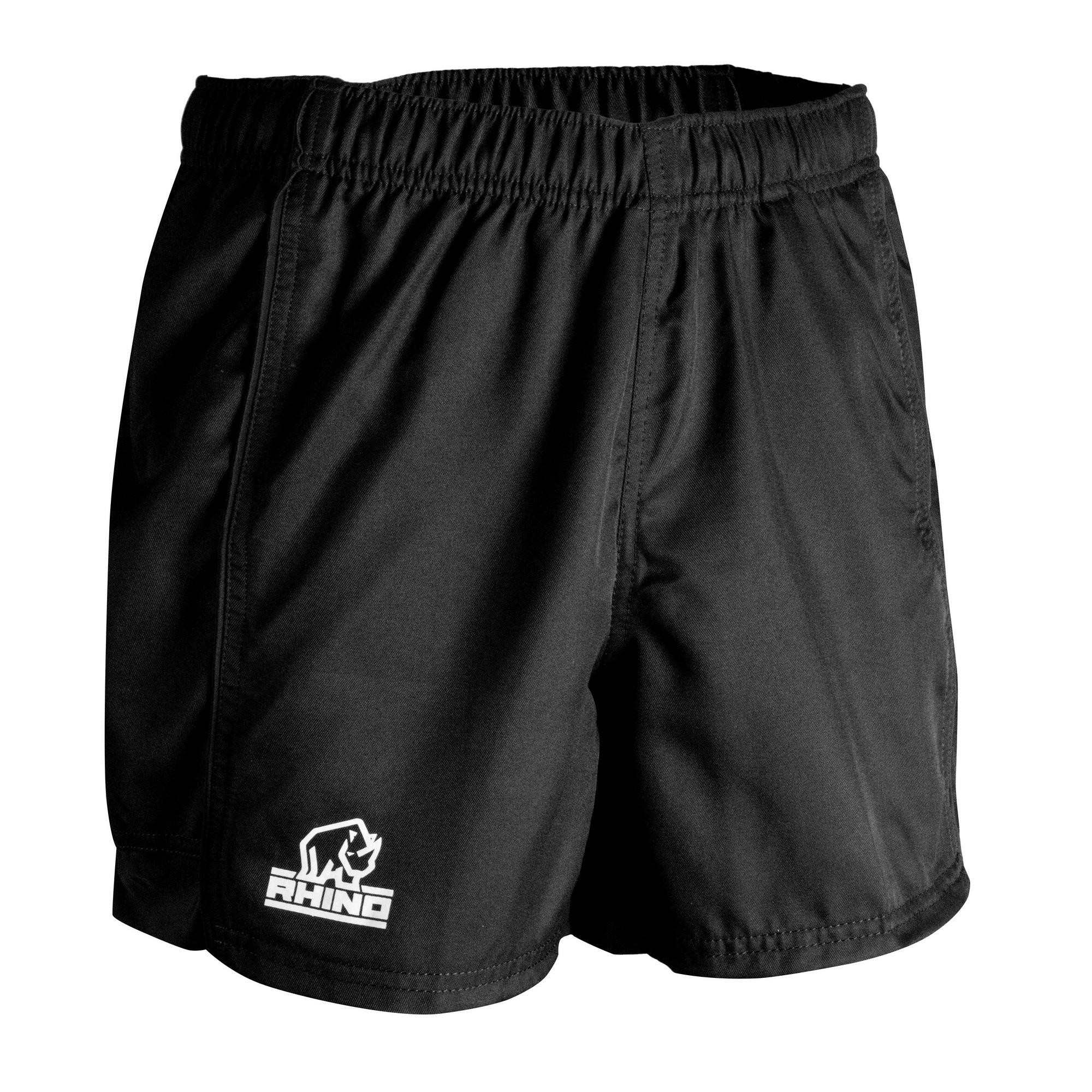 Rhino Childrens/Kids Auckland Rugby Shorts (LB) (Black)