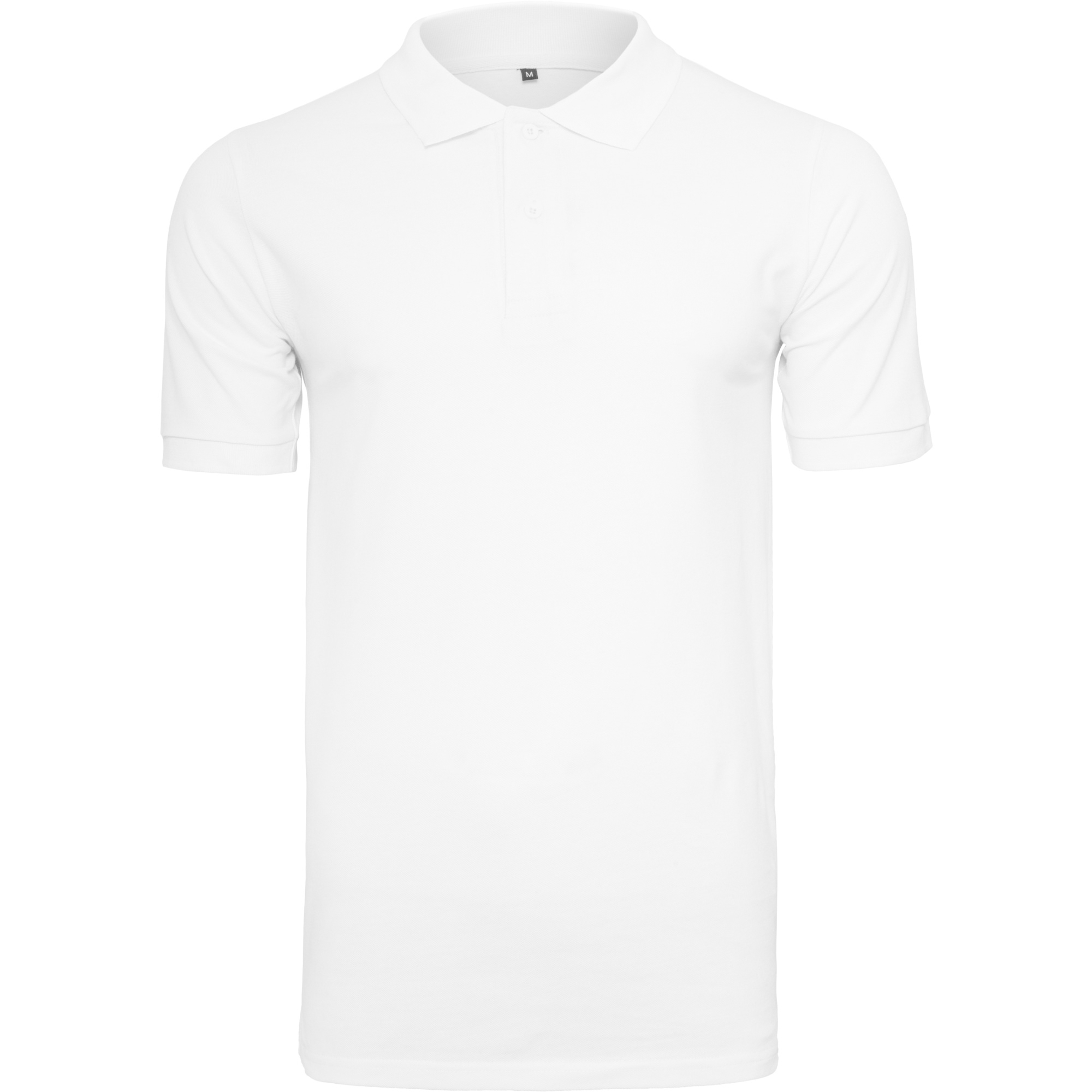 Build Your Brand Mens Pique Fitted Polo Shirt (L) (White)