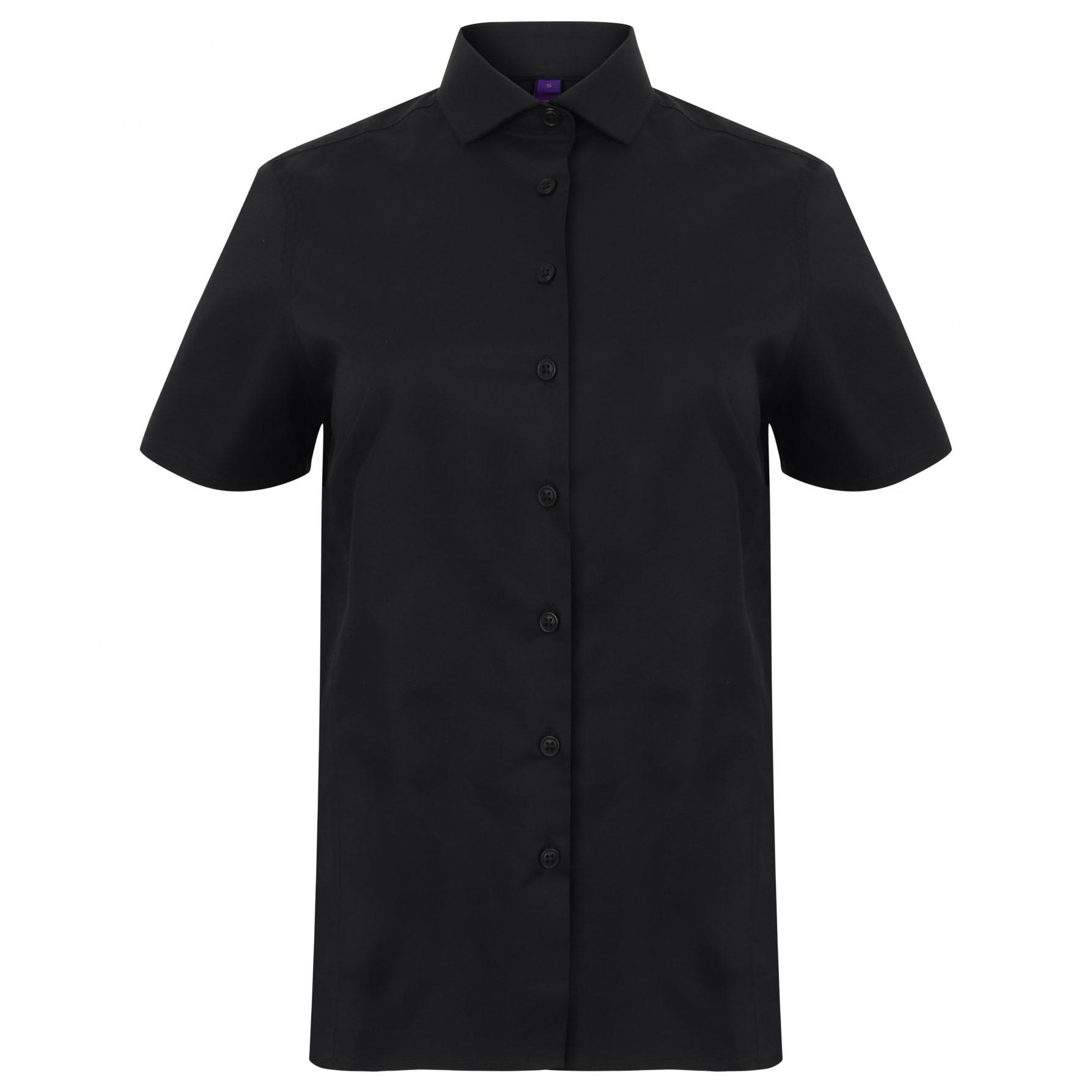 Henbury Womens/Ladies Short Sleeve Stretch Shirt (XXL) (Black)