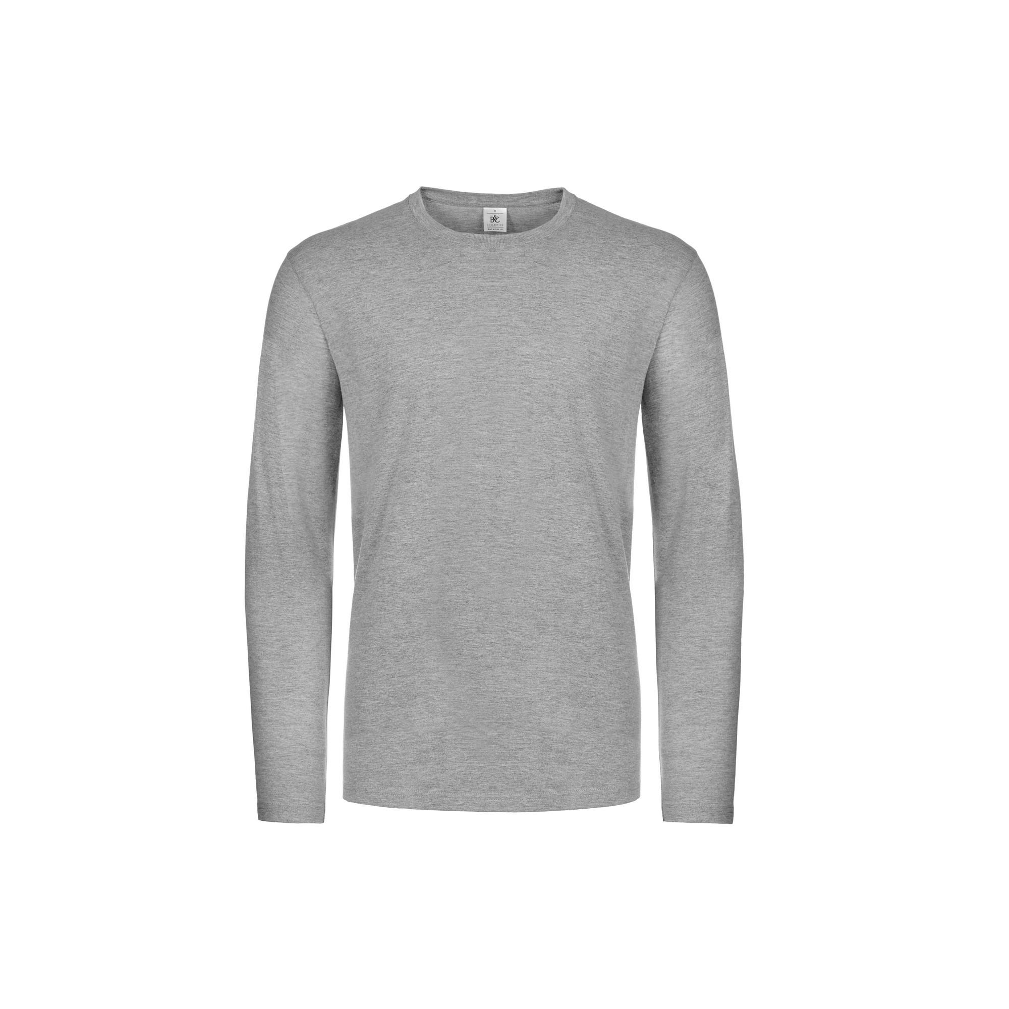 B&C Mens #E190 Long Sleeve T-Shirt (XL) (Sport Grey)