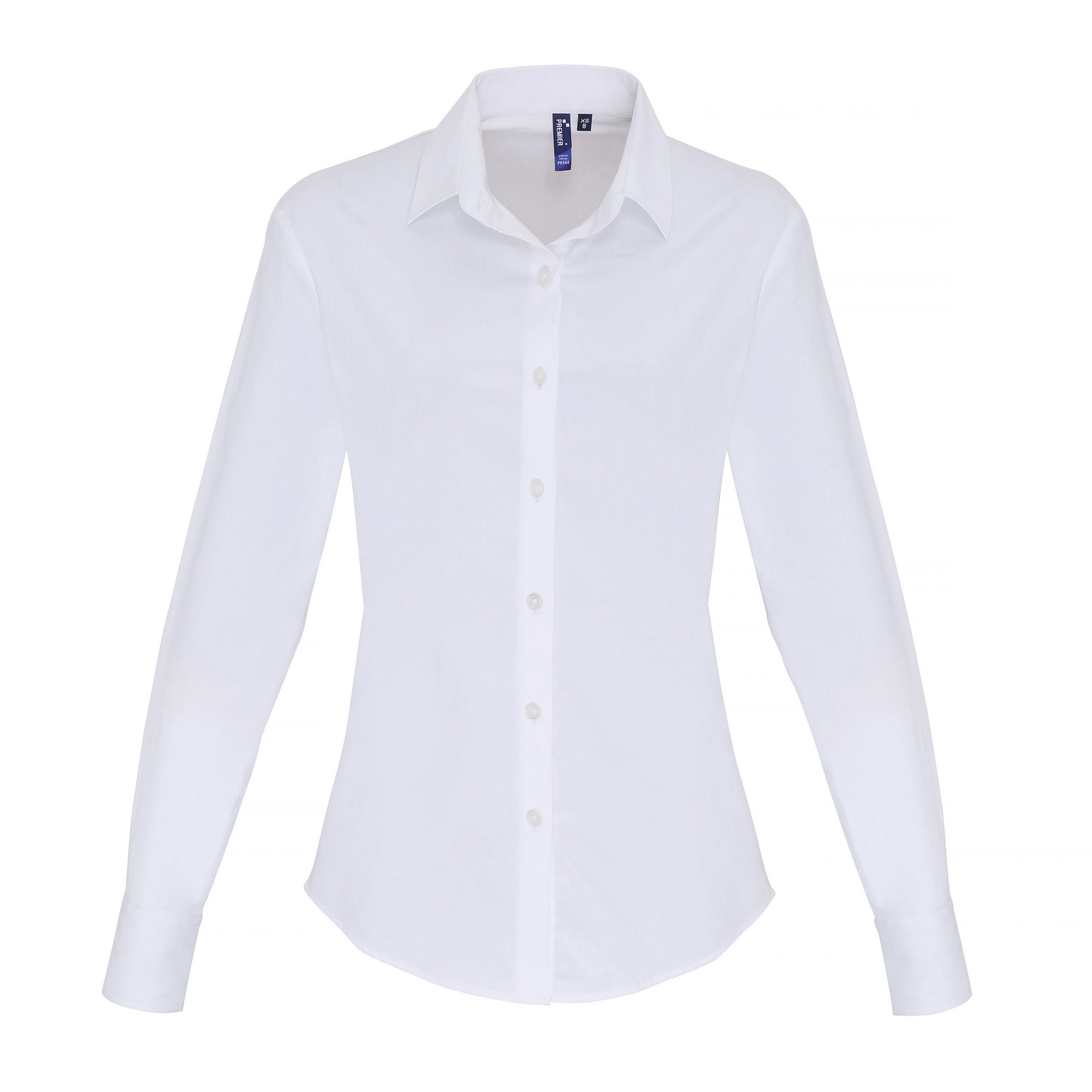 Premier Womens/Ladies Stretch Fit Poplin Long Sleeve Blouse (L) (White)