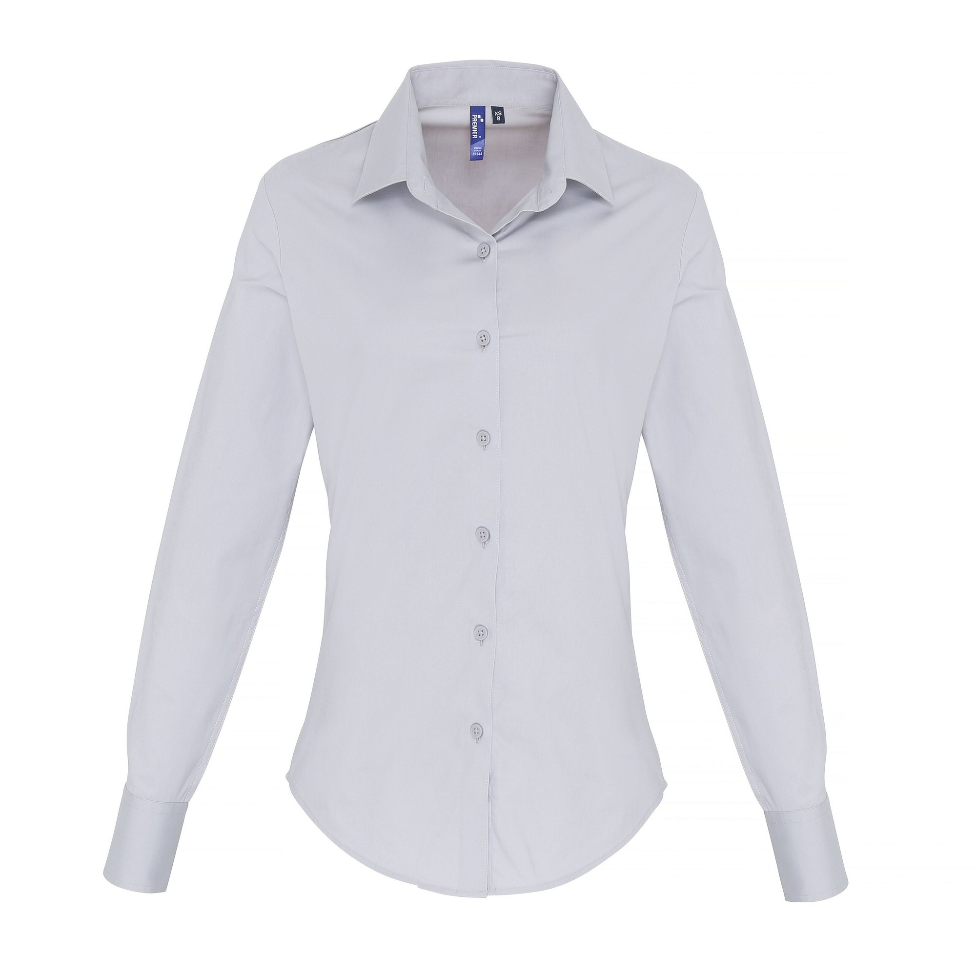 Premier Womens/Ladies Stretch Fit Poplin Long Sleeve Blouse (XS) (Silver)