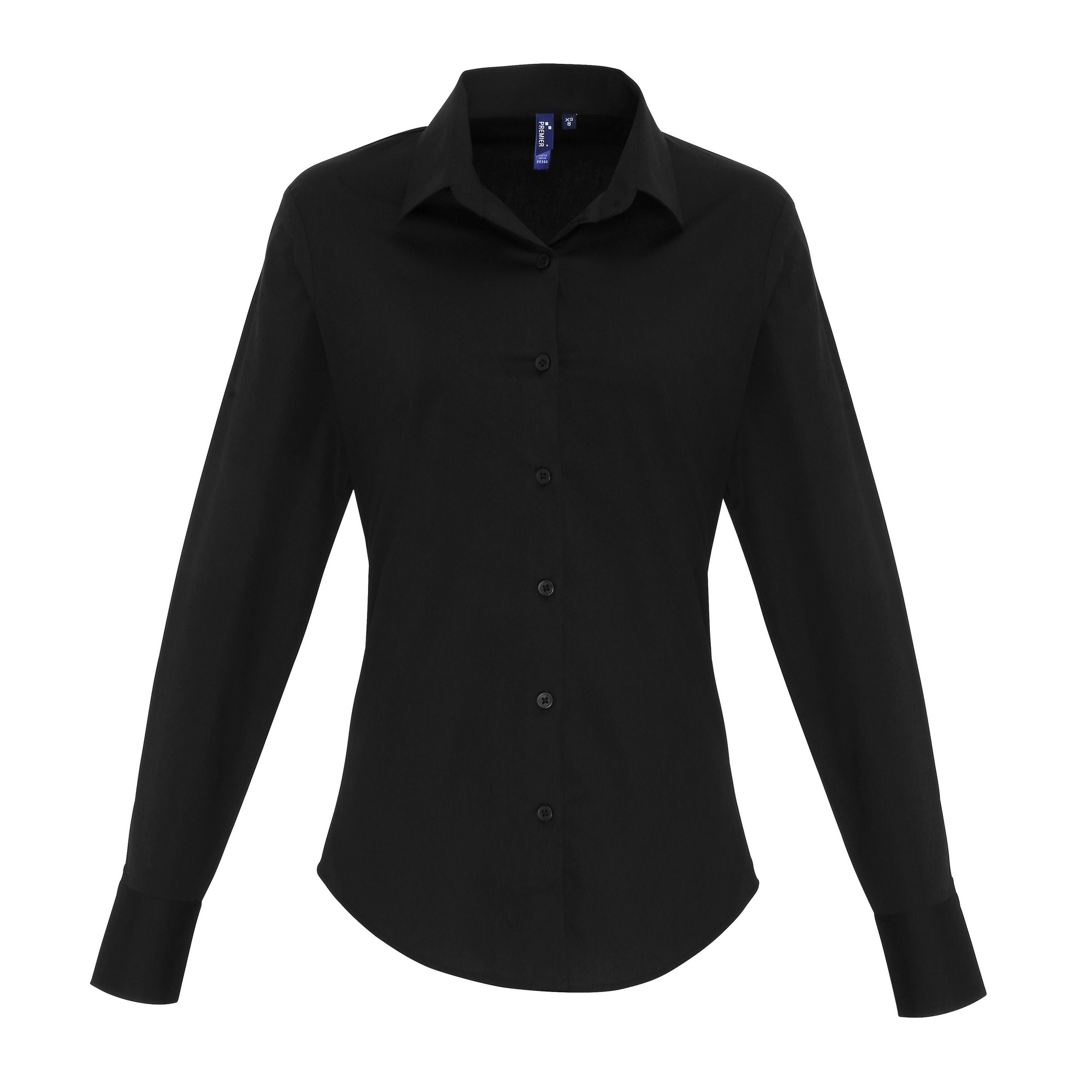 Premier Womens/Ladies Stretch Fit Poplin Long Sleeve Blouse (XS) (Black)