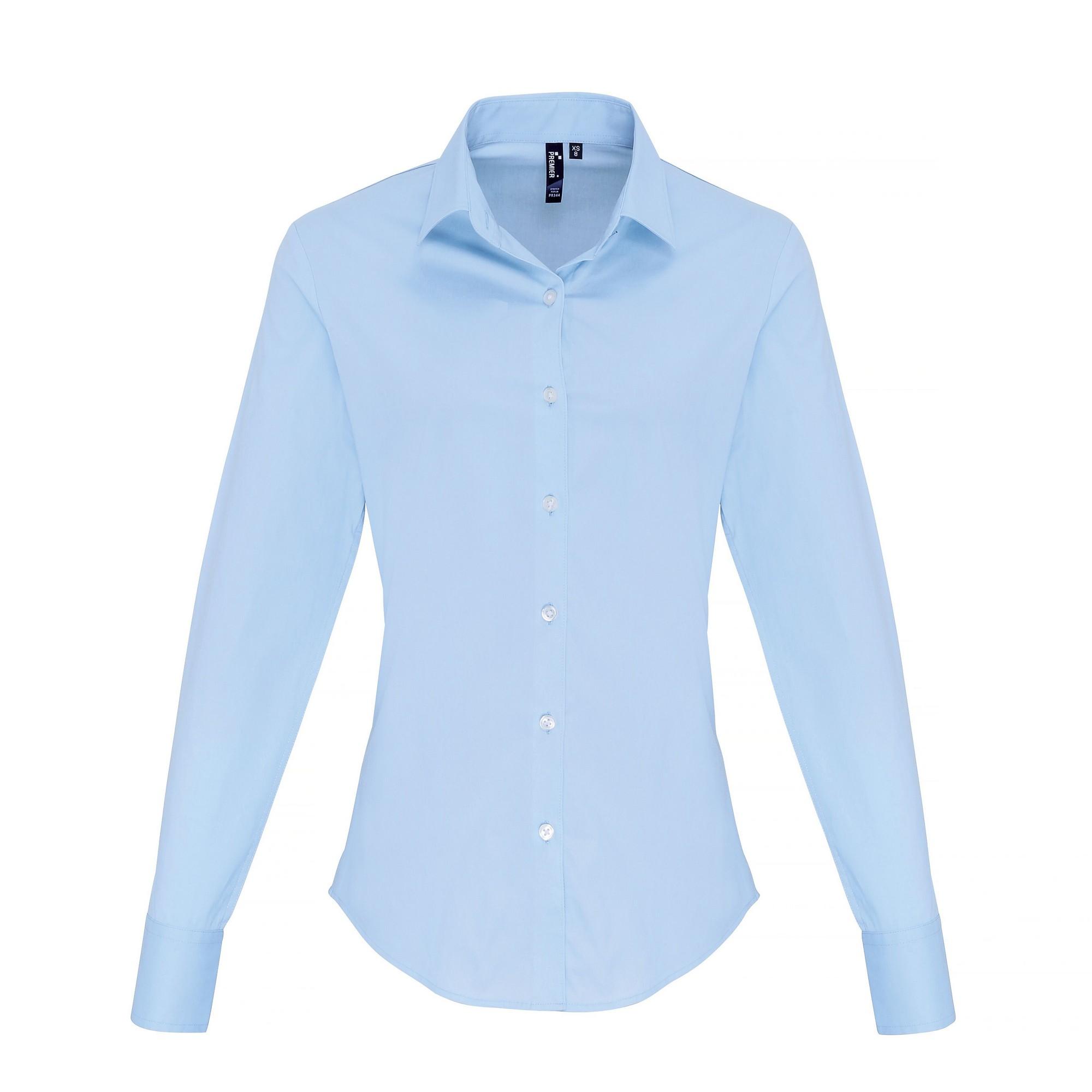 Premier Womens/Ladies Stretch Fit Poplin Long Sleeve Blouse (XS) (Pale Blue)