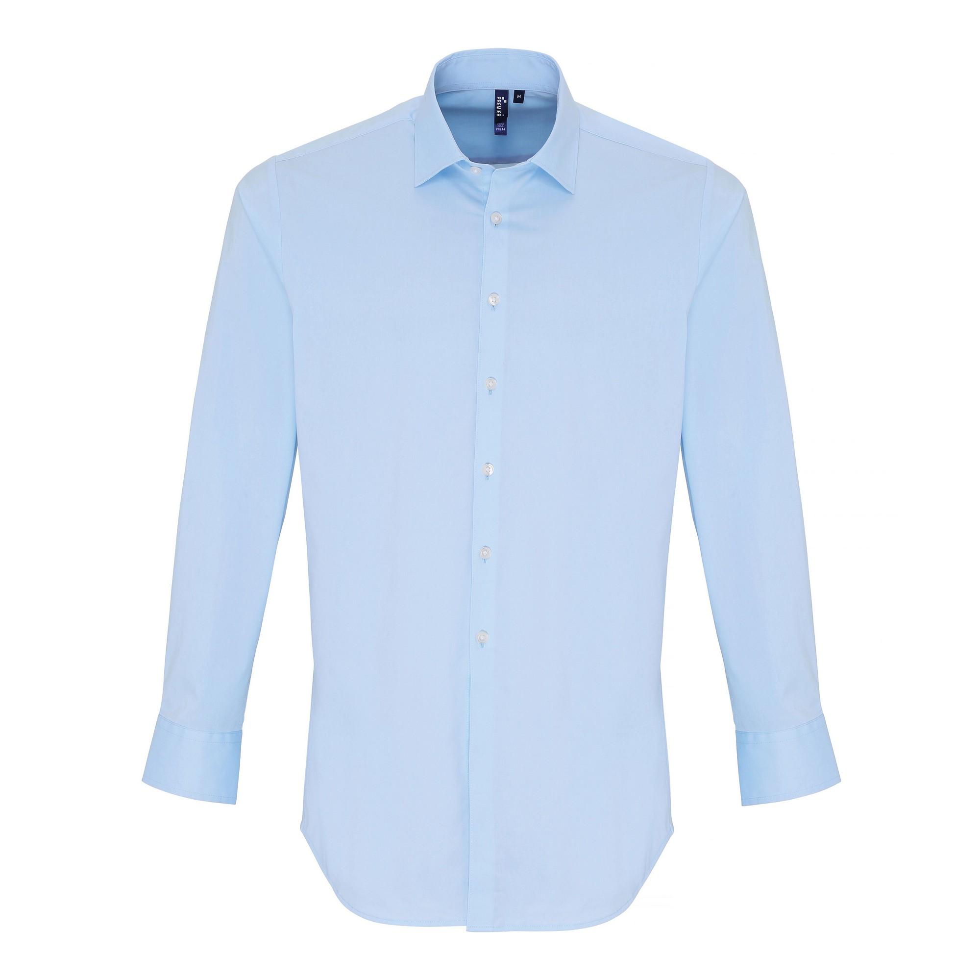 Premier Mens Stretch Fit Poplin Long Sleeve Shirt (2XL) (Pale Blue)