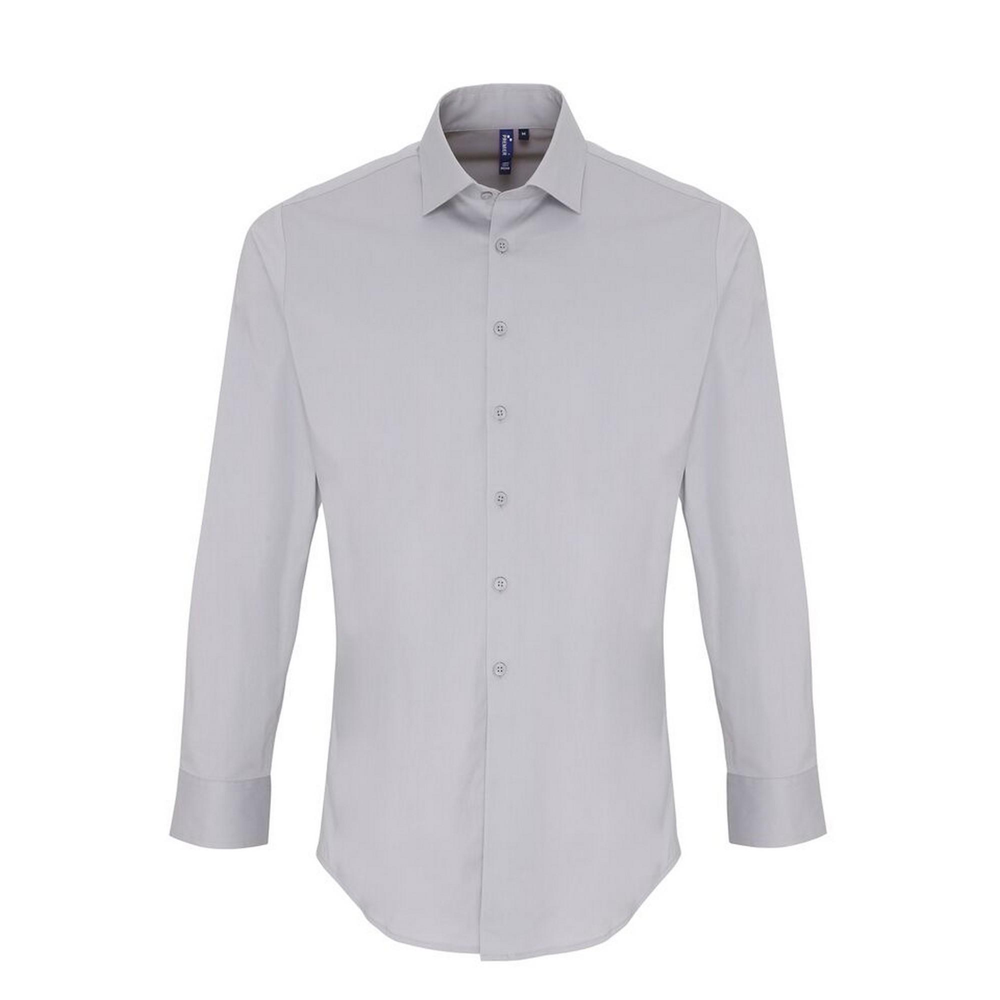Premier Mens Stretch Fit Poplin Long Sleeve Shirt (3XL) (Silver)