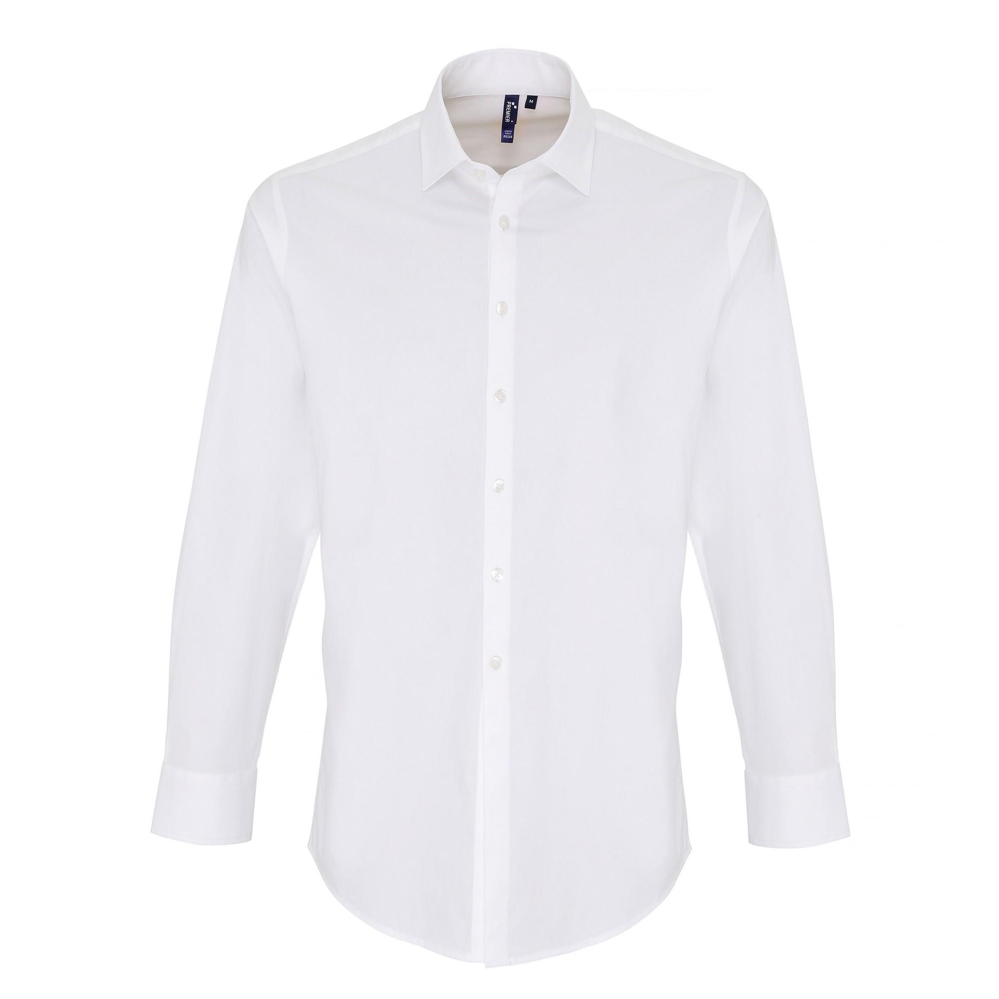 Premier Mens Stretch Fit Poplin Long Sleeve Shirt (4XL) (White)