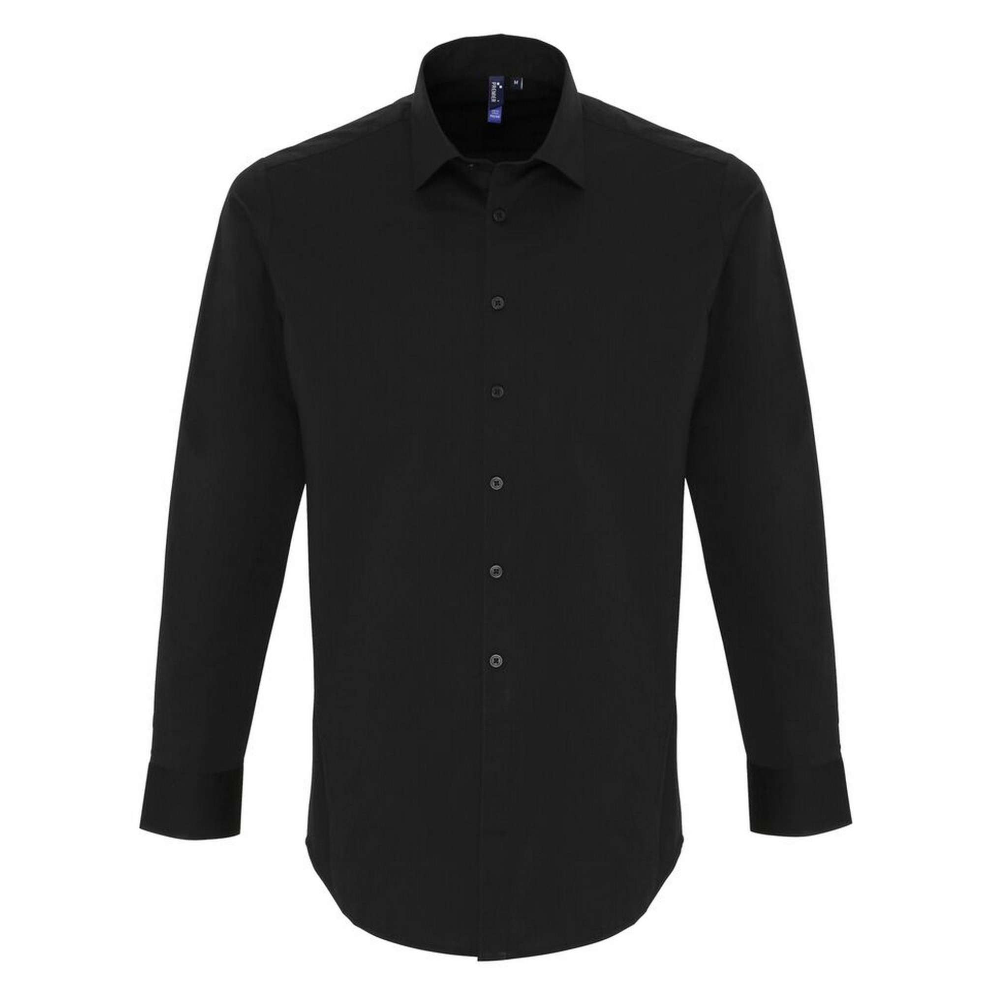 Premier Mens Stretch Fit Poplin Long Sleeve Shirt (4XL) (Black)