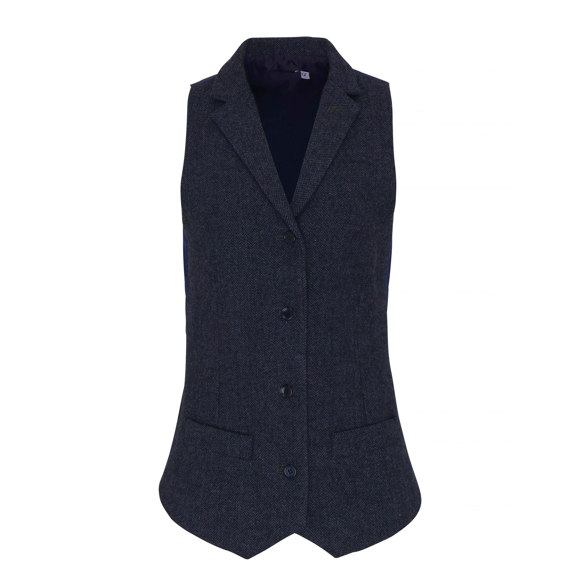 Premier Womens/Ladies Herringbone Waistcoat (M) (Navy)