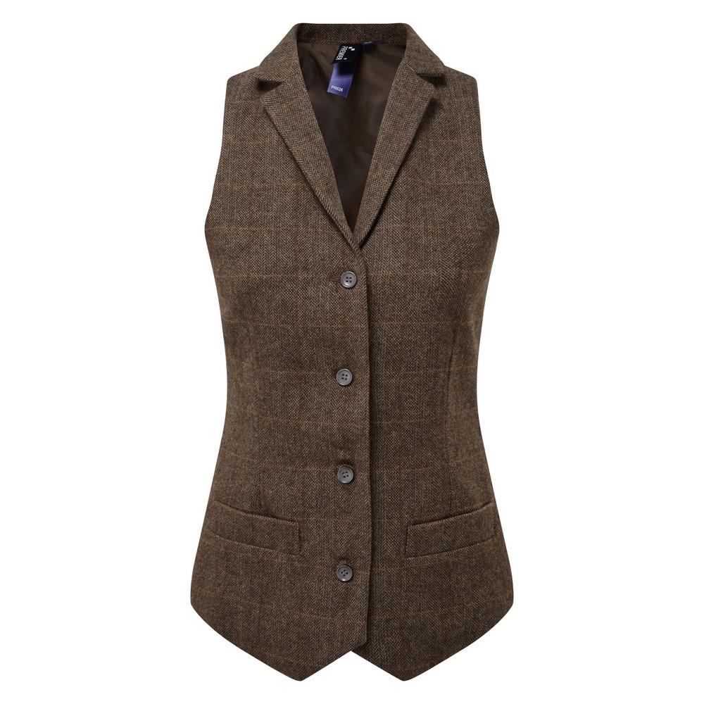 Premier Womens/Ladies Herringbone Waistcoat (L) (Brown Check)
