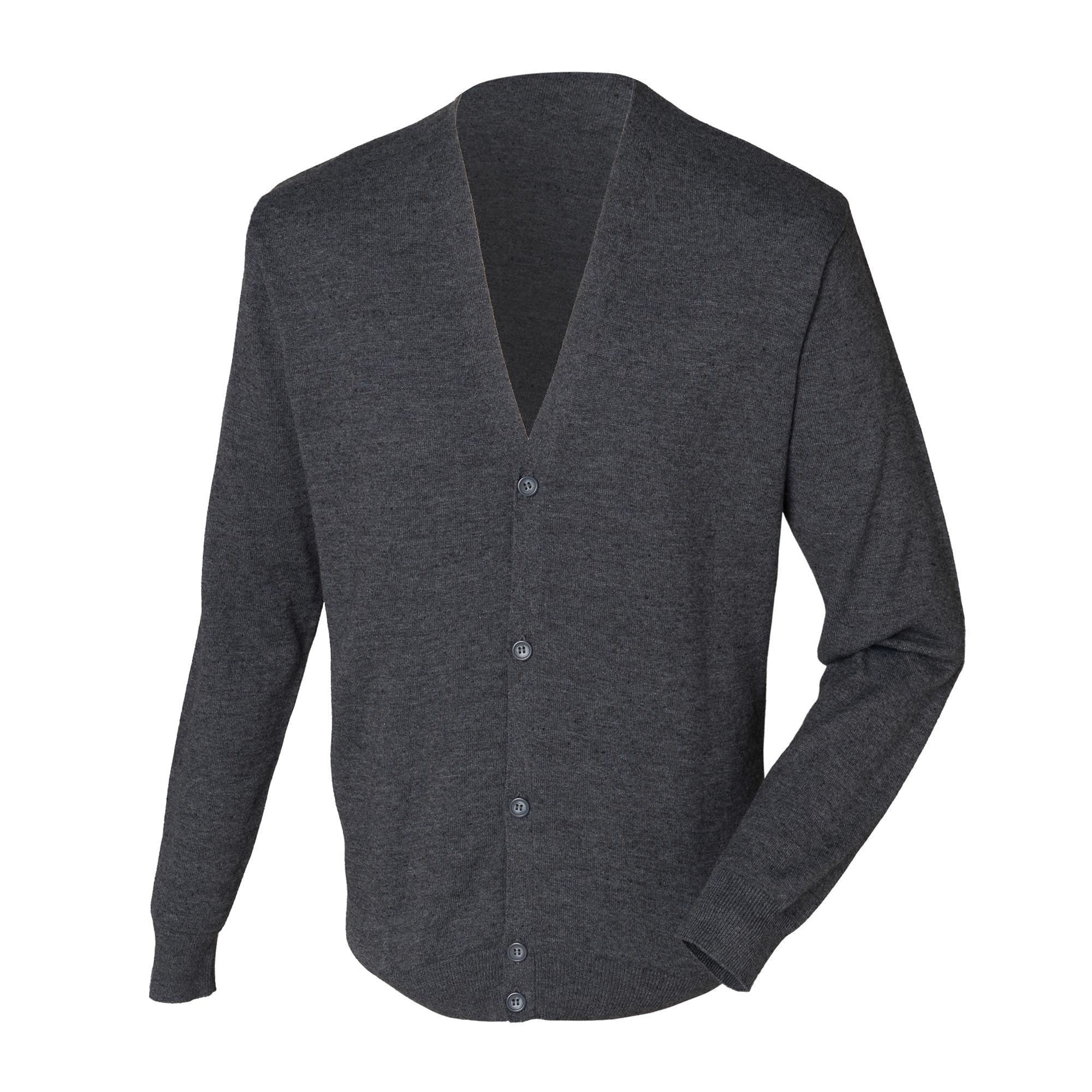 Henbury Mens V Neck Button Fine Knit Cardigan (2XL) (Grey Marl)