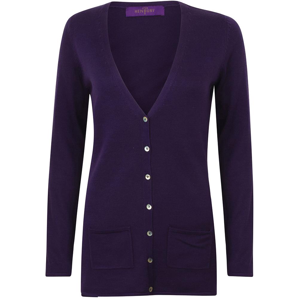 Henbury Ladies/Womens V-Neck Button Fine Knit Cardigan (XS) (Purple)