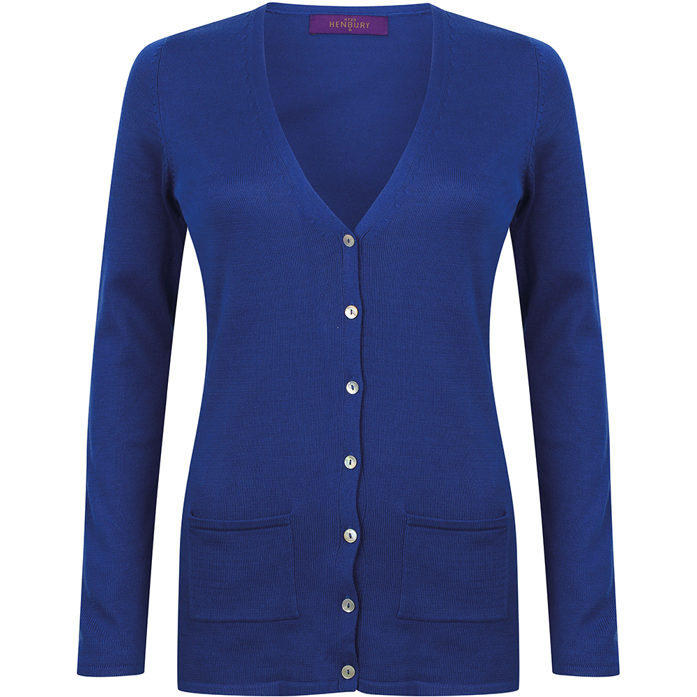 Henbury Ladies/Womens V-Neck Button Fine Knit Cardigan (M) (Royal)