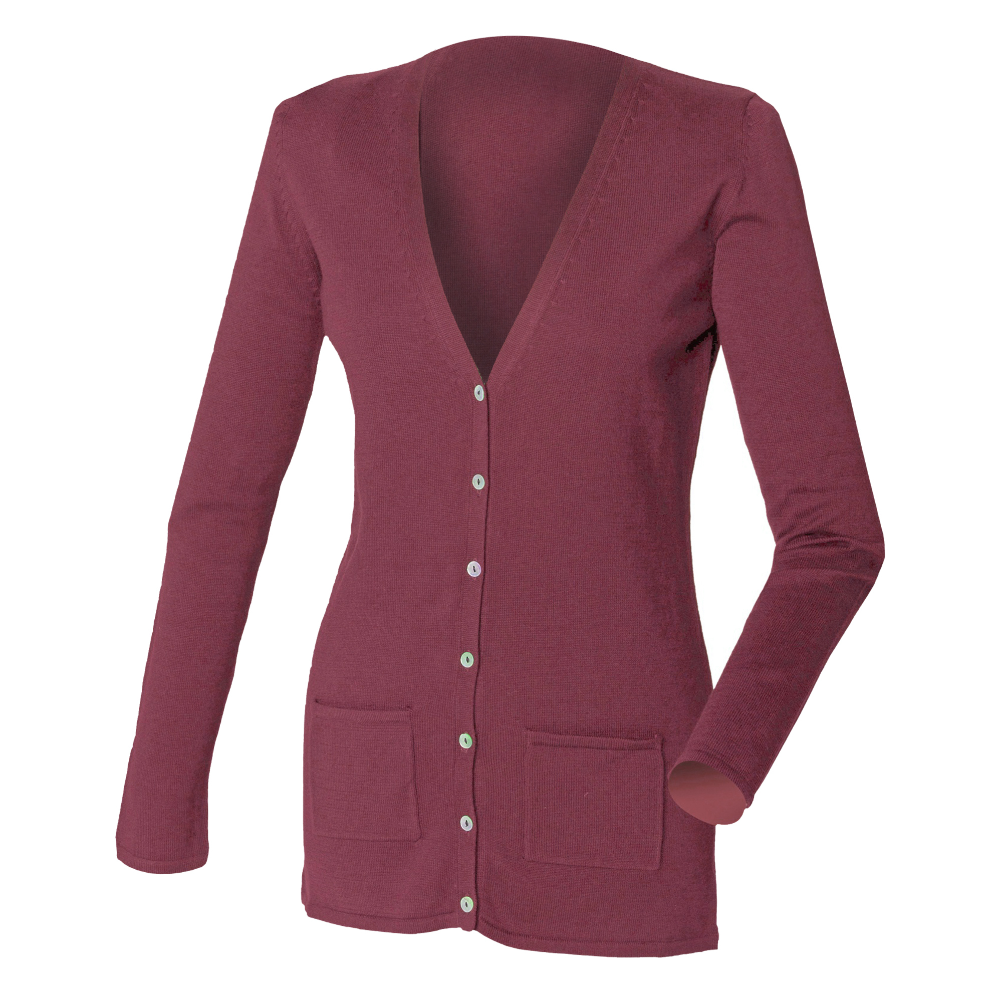 Henbury Ladies/Womens V-Neck Button Fine Knit Cardigan (4XL) (Burgundy)