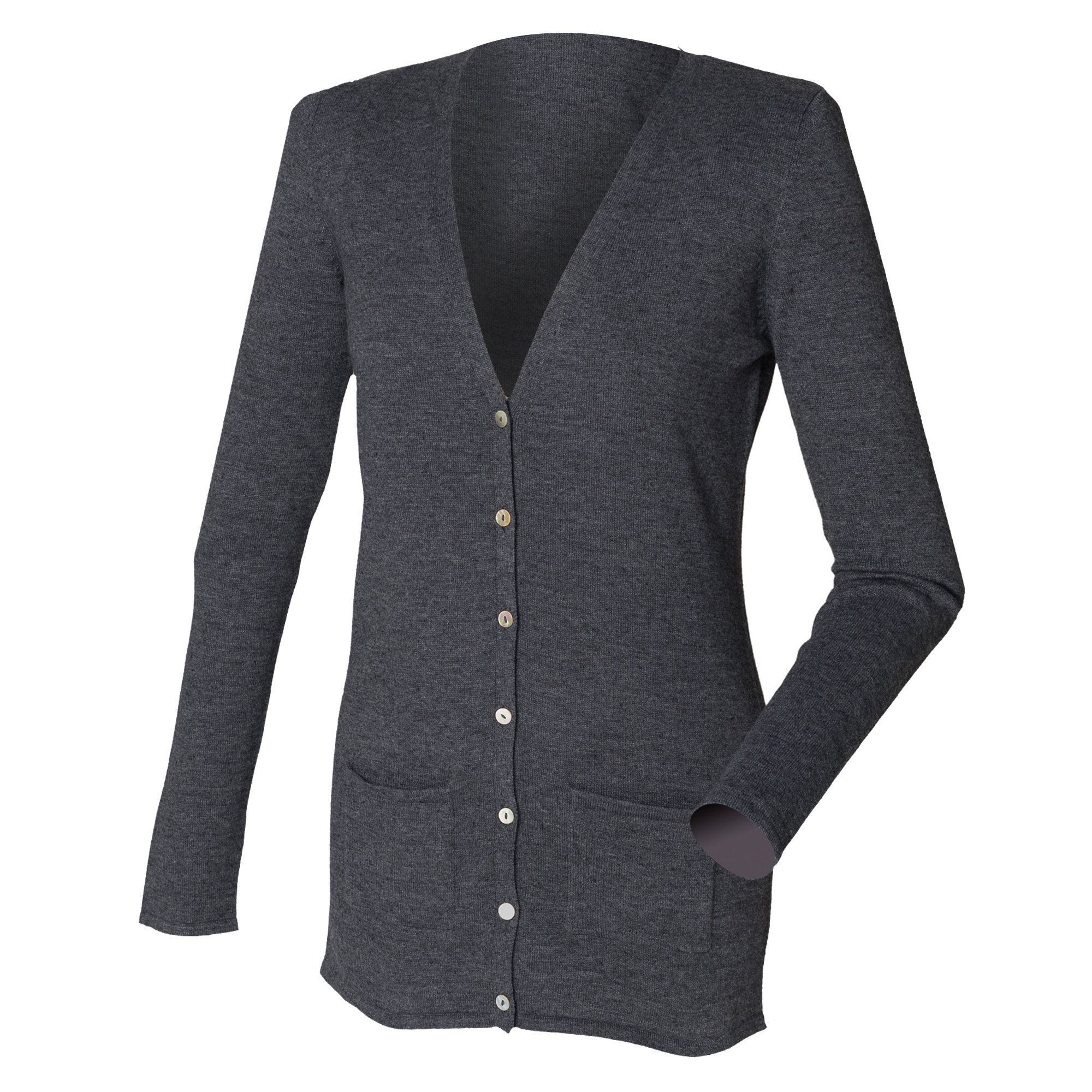 Henbury Ladies/Womens V-Neck Button Fine Knit Cardigan (2XL) (Grey Marl)