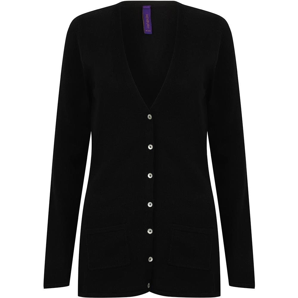 Henbury Ladies/Womens V-Neck Button Fine Knit Cardigan (2XS) (Black)