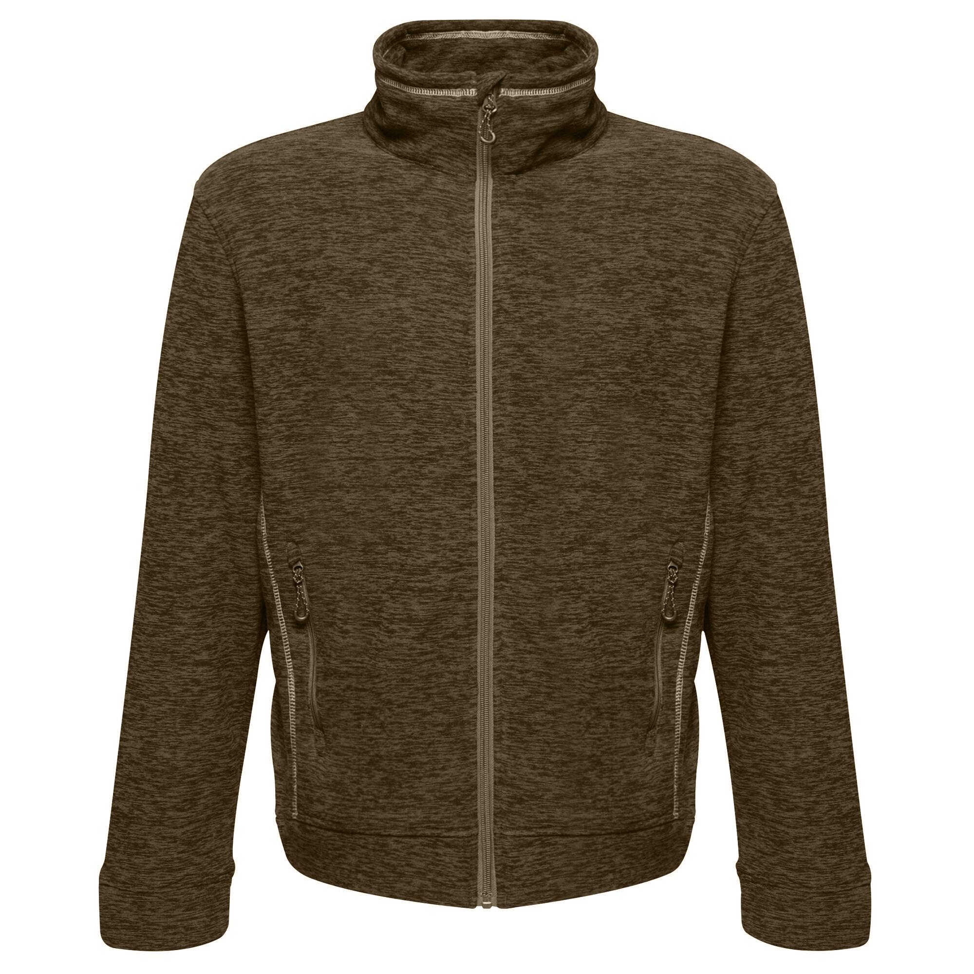 Regatta Mens Thornly Full Zip Marl Fleece Jacket (M) (Dark Khaki Marl)