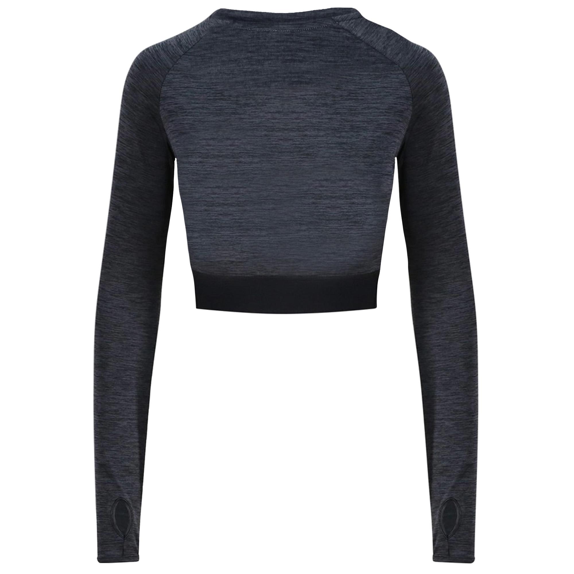 AWDis Just Cool Womens/Ladies Girlie Long-Sleeve Crop Top (L) (Jet Black)