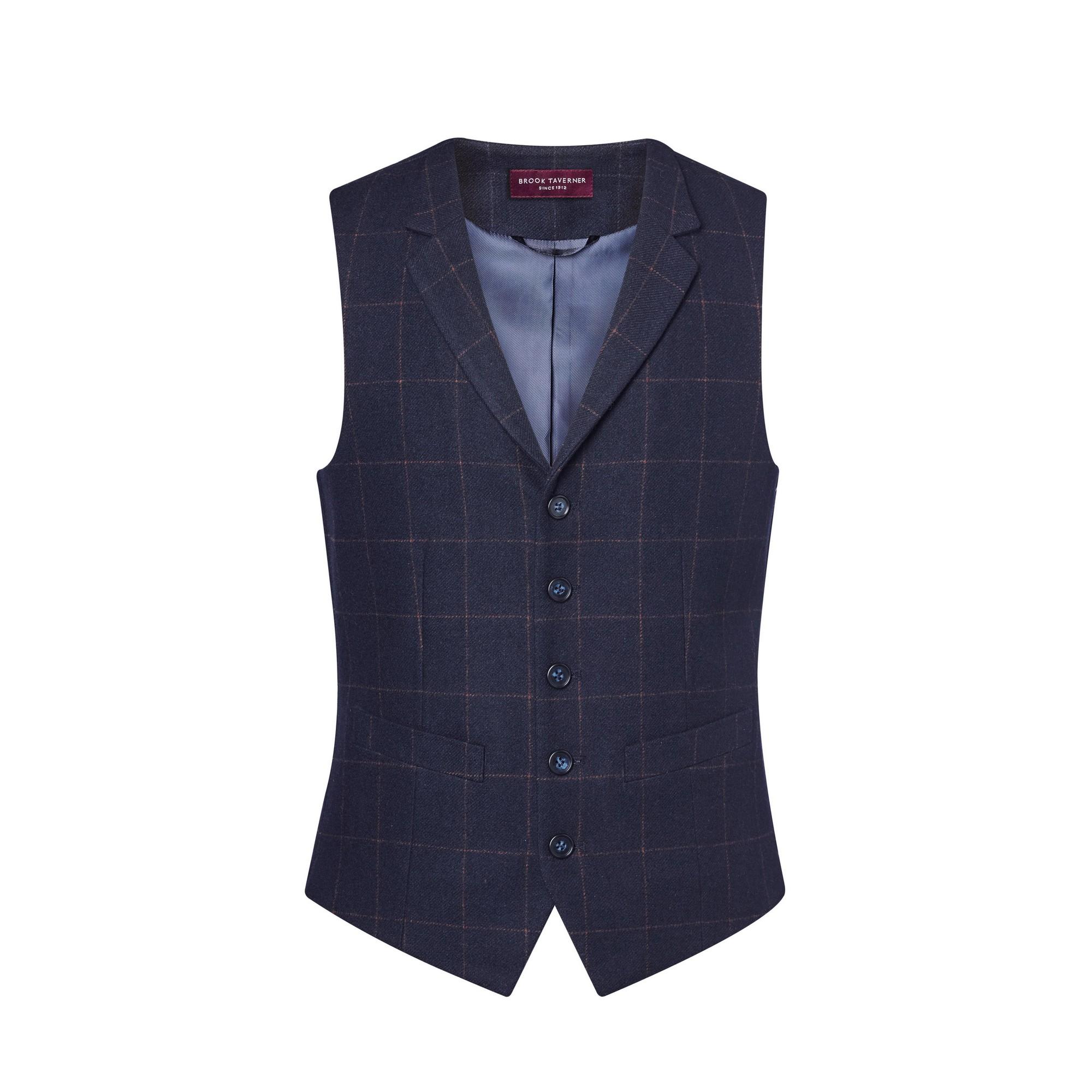 Brook Taverner Mens Memphis Tweed Waistcoat (S) (Navy Check)