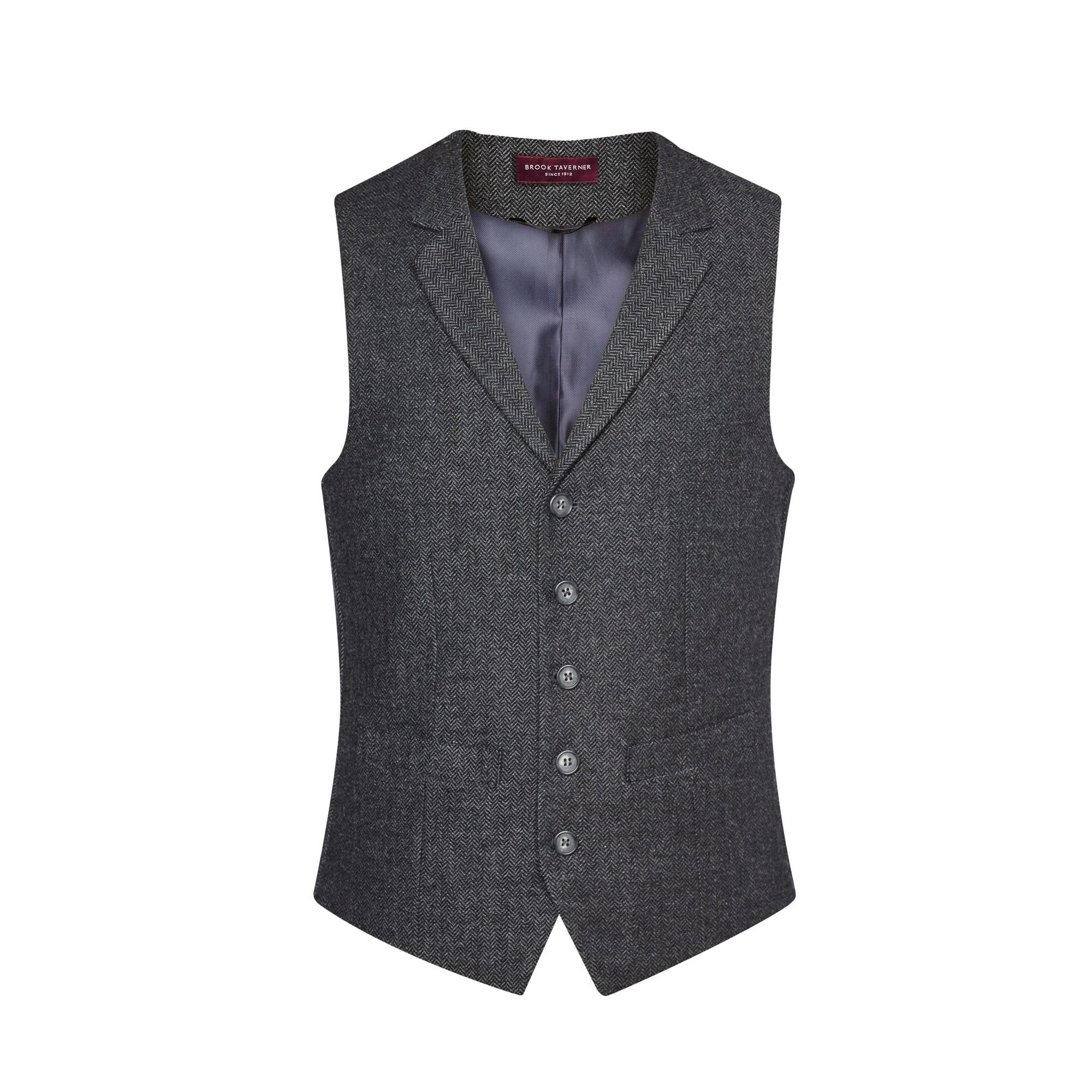 Brook Taverner Mens Memphis Tweed Waistcoat (S) (Charcoal Herringbone)