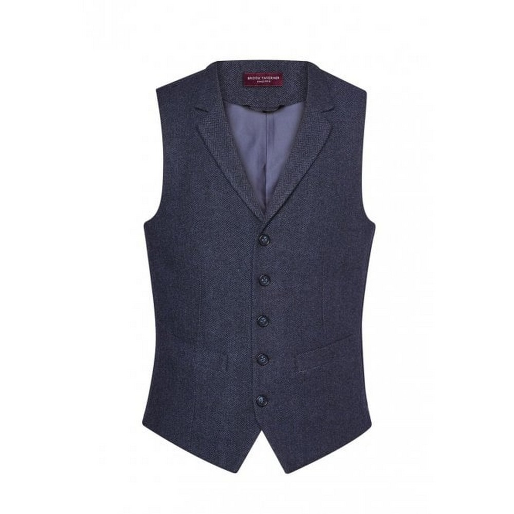 Brook Taverner Mens Memphis Tweed Waistcoat (S) (Navy Herringbone)