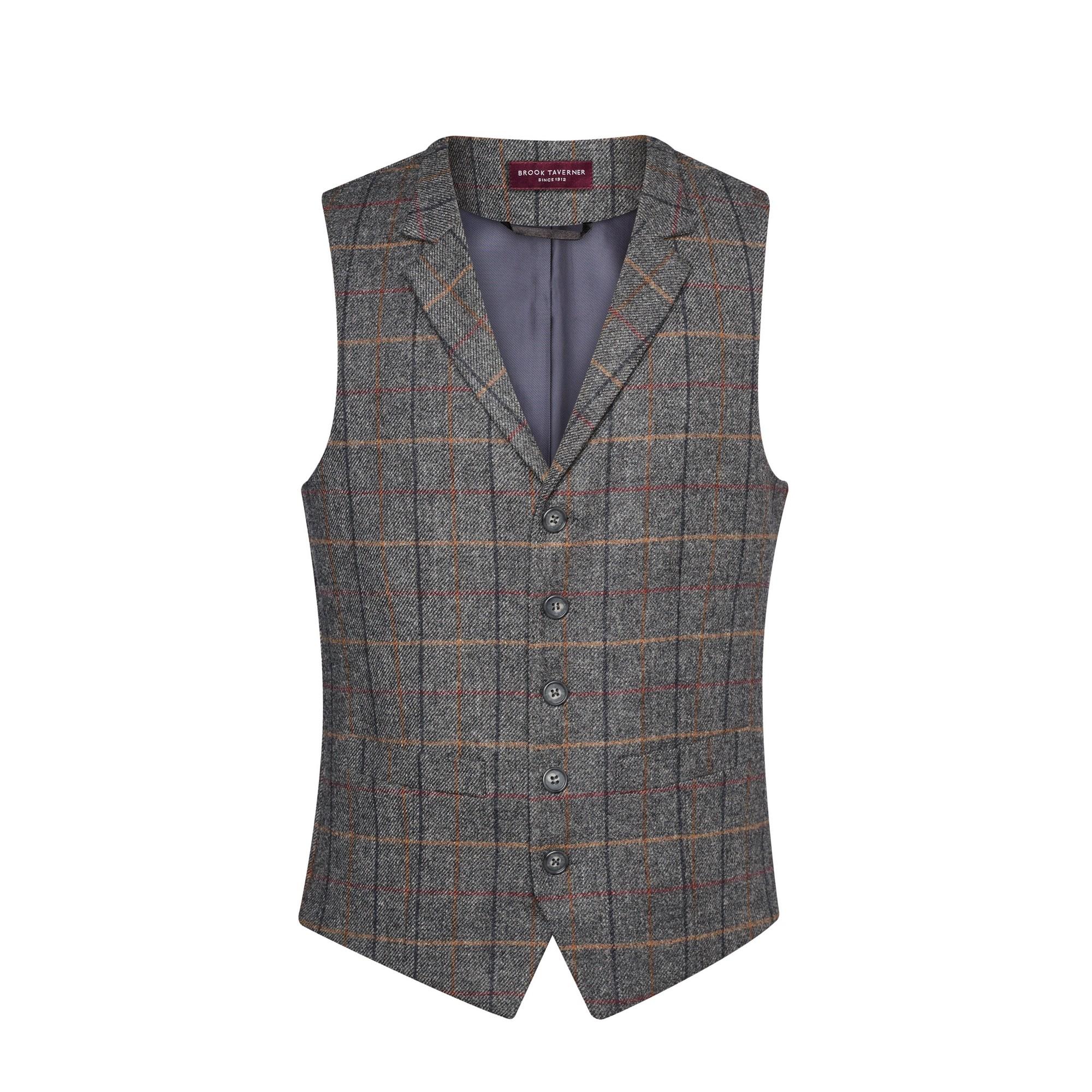 Brook Taverner Mens Memphis Tweed Waistcoat (XL) (Grey/Brown Check)