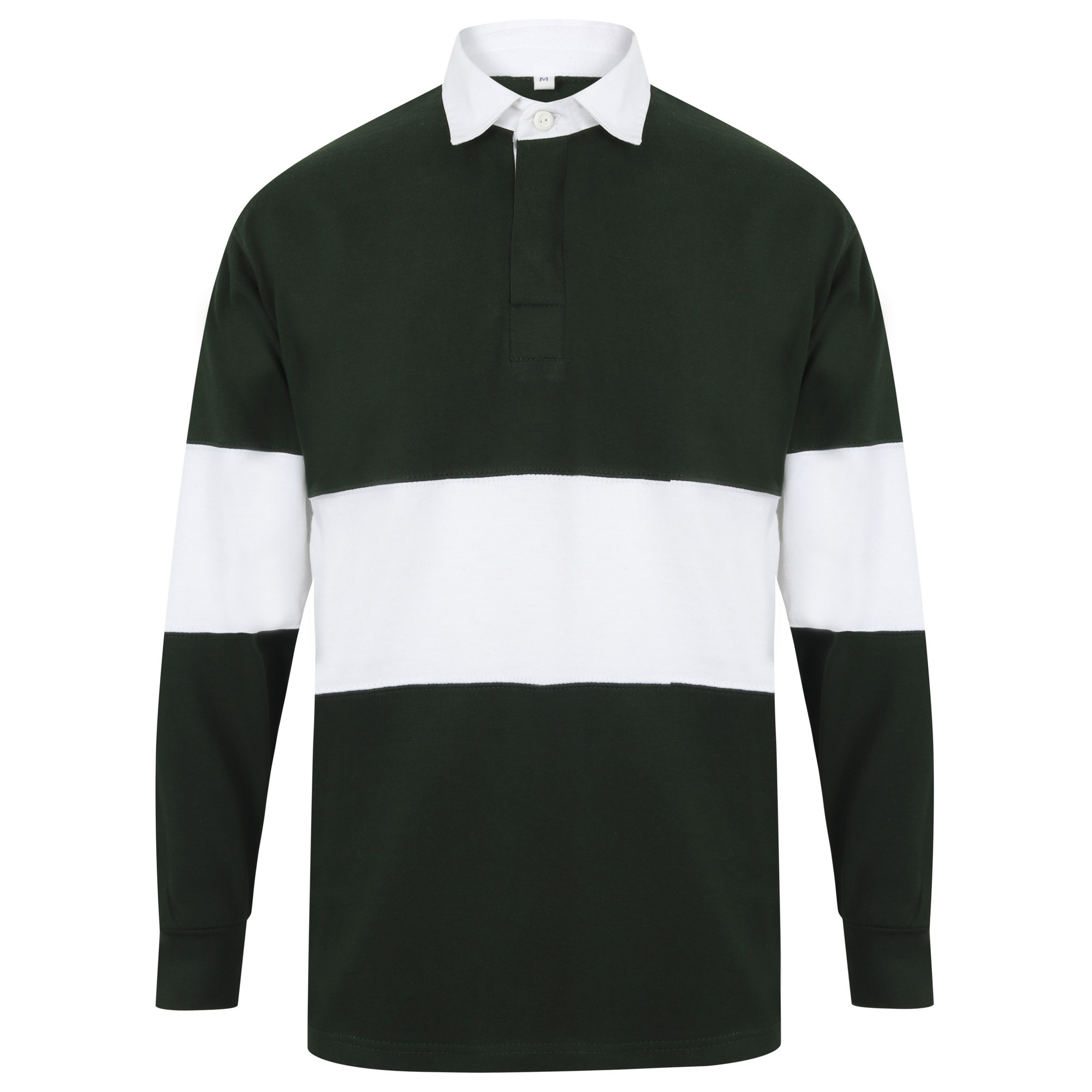 Front Row Adults Unisex Panelled Tag Free Rugby Shirt (XL) (Bottle Green/White)