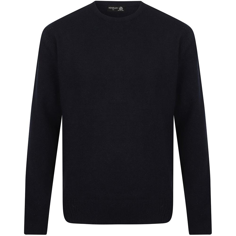 Henbury Mens Crew Neck 100% Lambswool Woolmark® Jumper / Sweatshirt (M) (Navy)