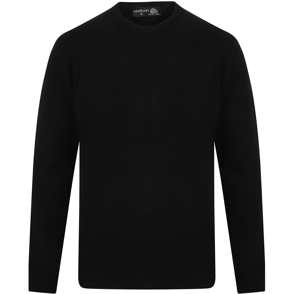Henbury Mens Crew Neck 100% Lambswool Woolmark® Jumper / Sweatshirt (XL) (Black)