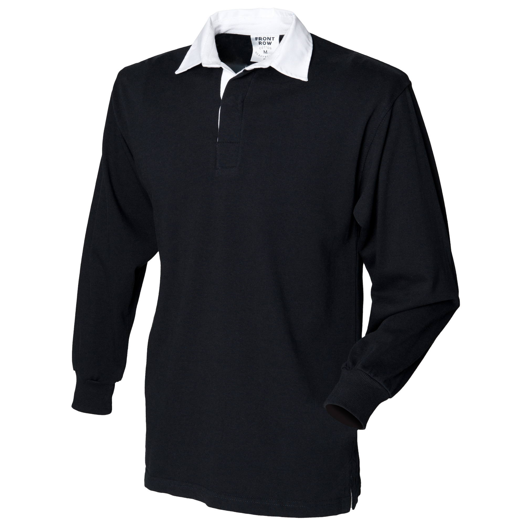 Front Row Kids Unisex Long Sleeve Plain Rugby Sports Polo Shirt (Pack of 2) (L) (Black)