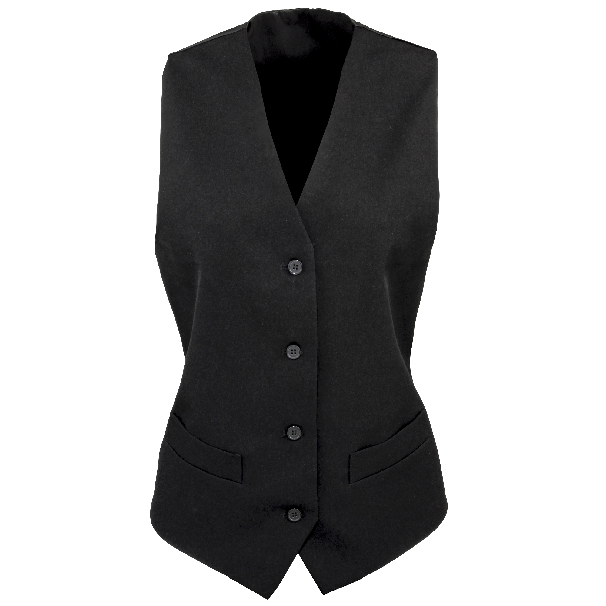 Premier Womens/Ladies Lined Polyester Waistcoat / Bar Wear / Catering (Pack of 2) (M) (Black)
