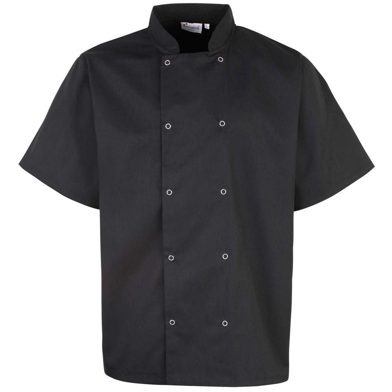 Premier Unisex Studded Front Short Sleeve Chefs Jacket (Pack of 2) (3XL) (Black)