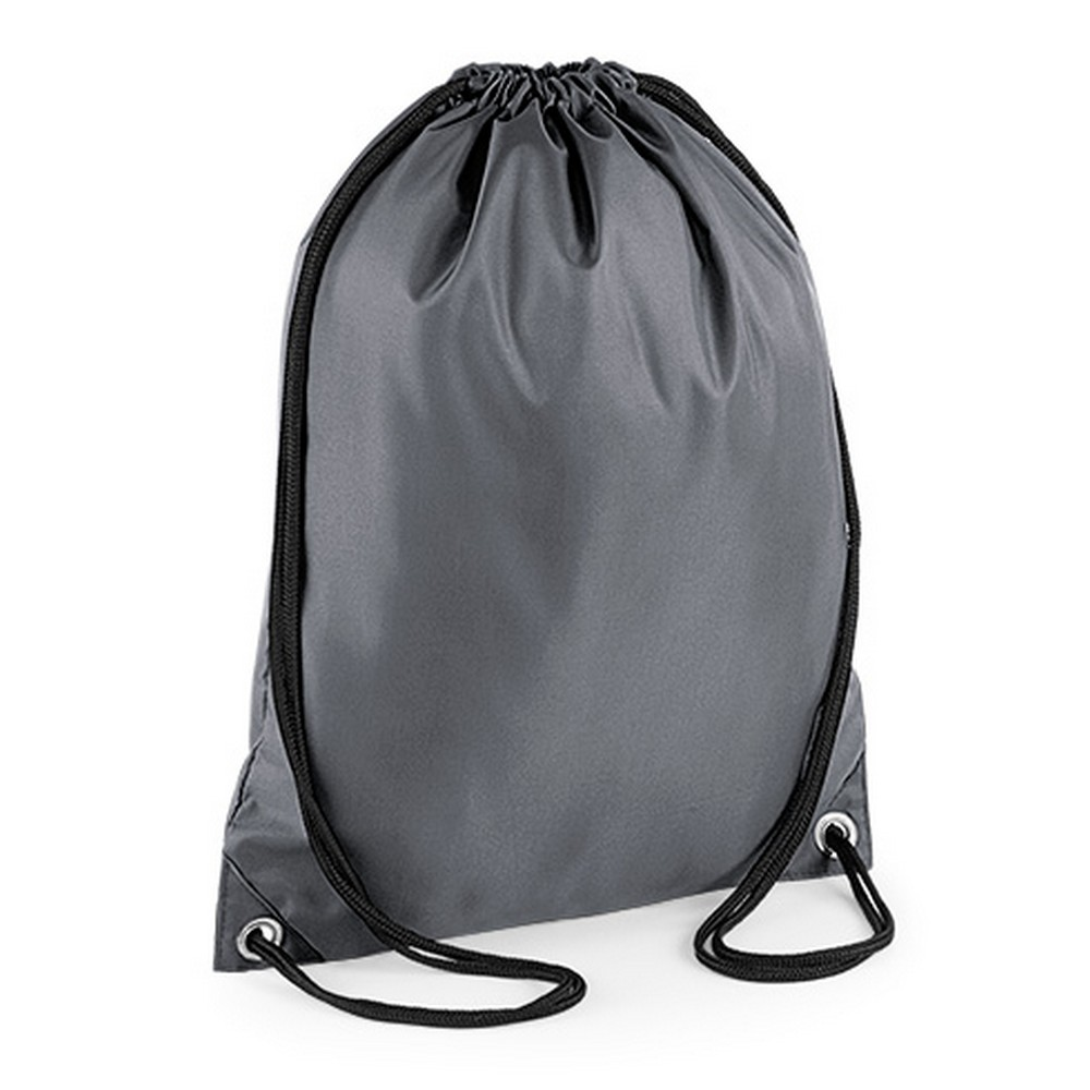 BagBase Budget Water Resistant Sports Gymsac Drawstring Bag (11L) (Pack of 2) (One Size) (Graphite Grey)