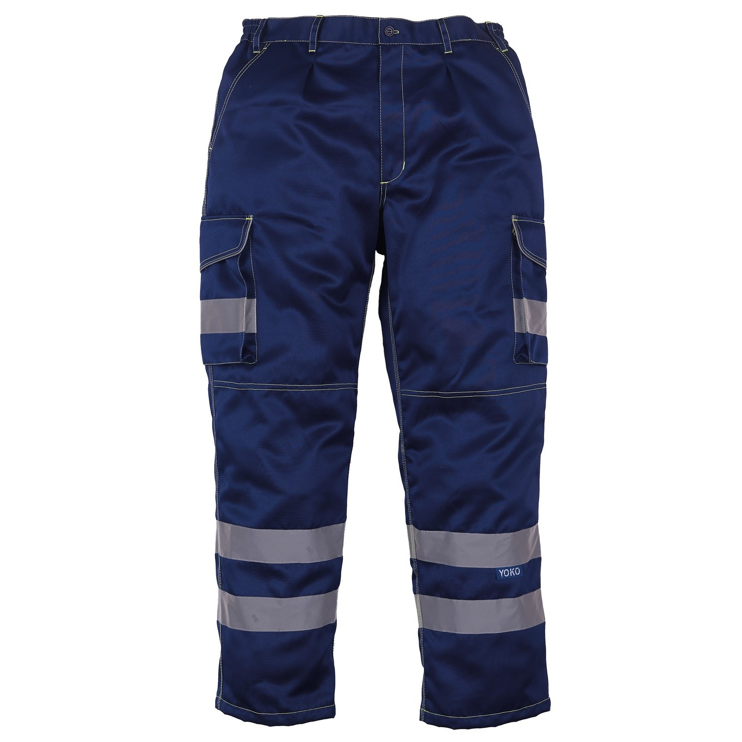 Yoko Mens Hi Vis Polycotton Cargo Trousers With Knee Pad Pockets (Pack of 2) (38L) (Navy)