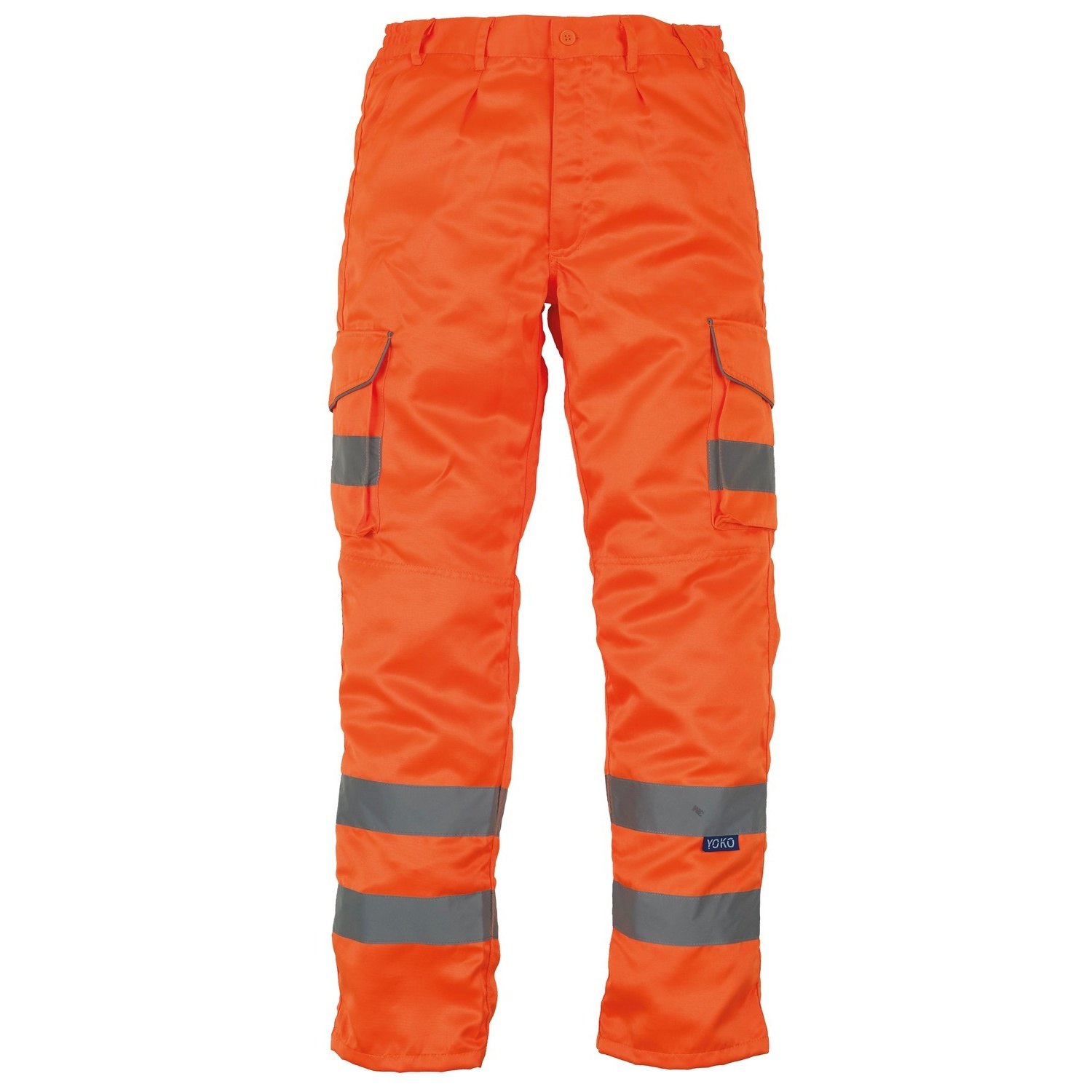 Yoko Mens Hi Vis Polycotton Cargo Trousers With Knee Pad Pockets (Pack of 2) (32L) (Orange)
