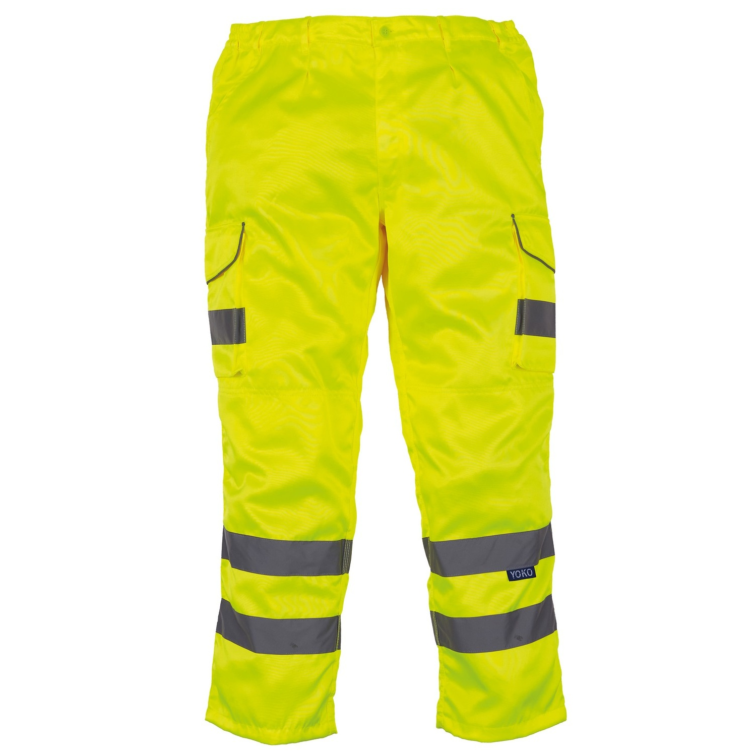 Yoko Mens Hi Vis Polycotton Cargo Trousers With Knee Pad Pockets (Pack of 2) (42R) (Yellow)