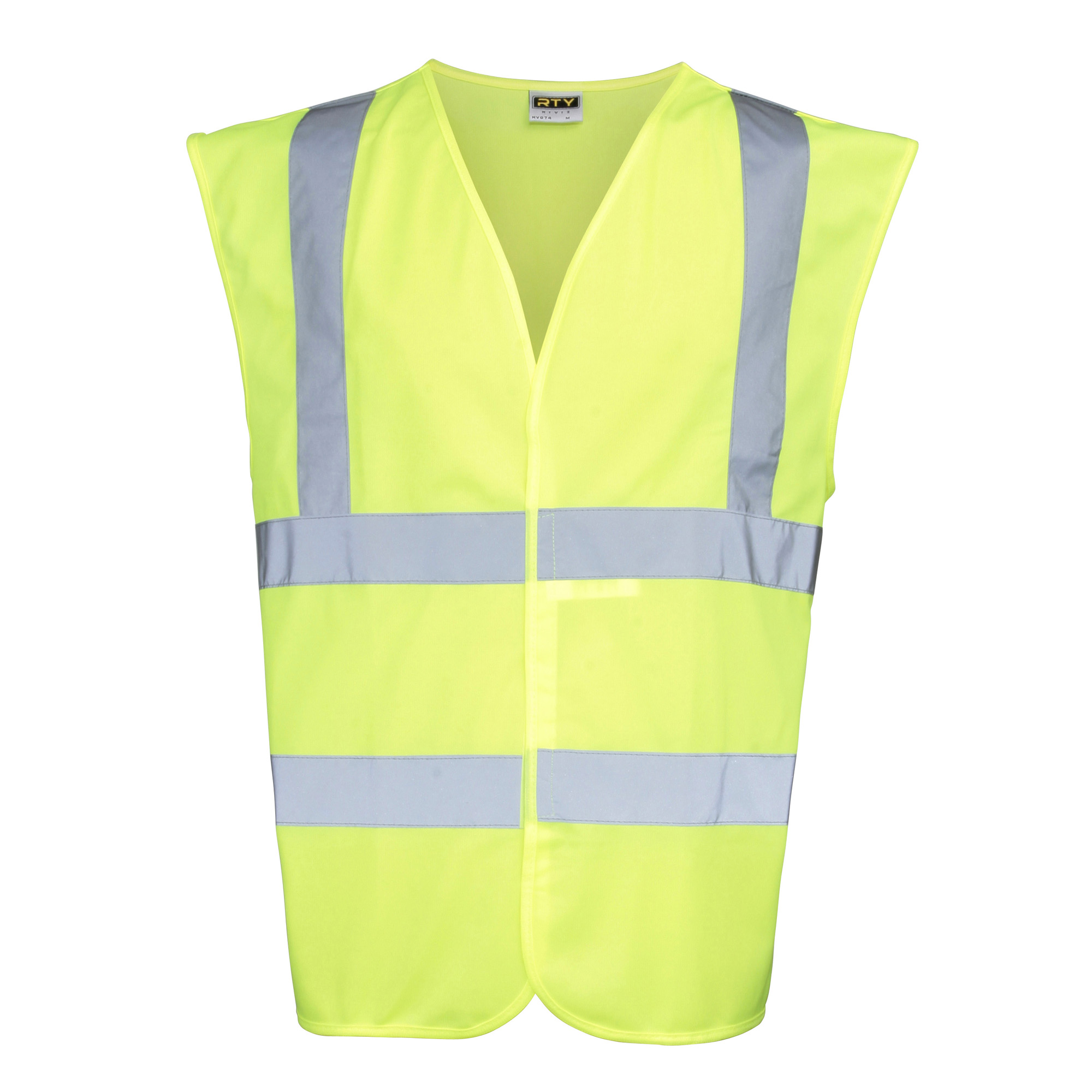 RTY High Visibility Unisex High Vis Sleeveless Waistcoat / Vest (Pack of 2) (XL) (Fluorescent Yellow)