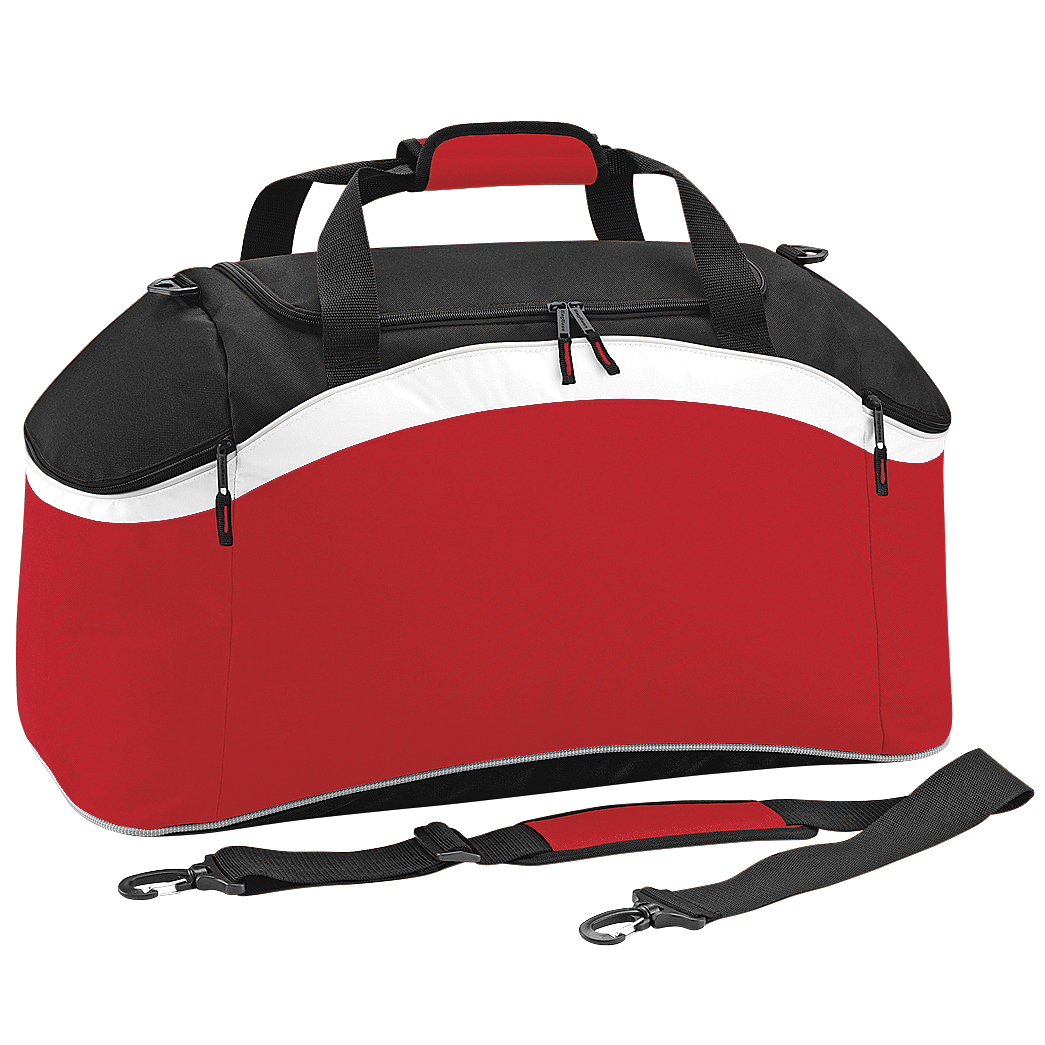 BagBase Teamwear Sport Holdall / Duffle Bag (54 Litres) (Pack of 2) (One Size) (Classic Red/ Black/ White)