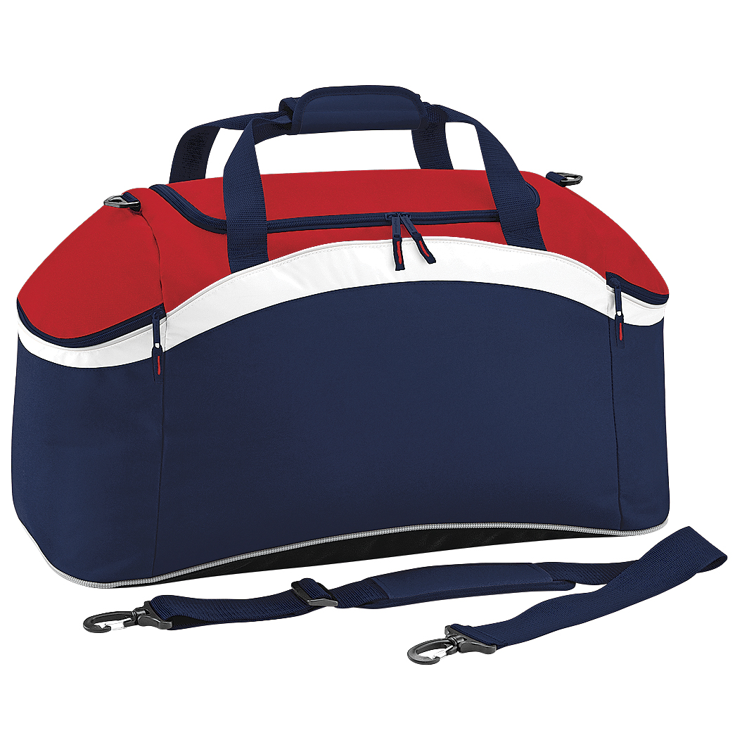 BagBase Teamwear Sport Holdall / Duffle Bag (54 Litres) (Pack of 2) (One Size) (French Navy/ Classic Red/ White)