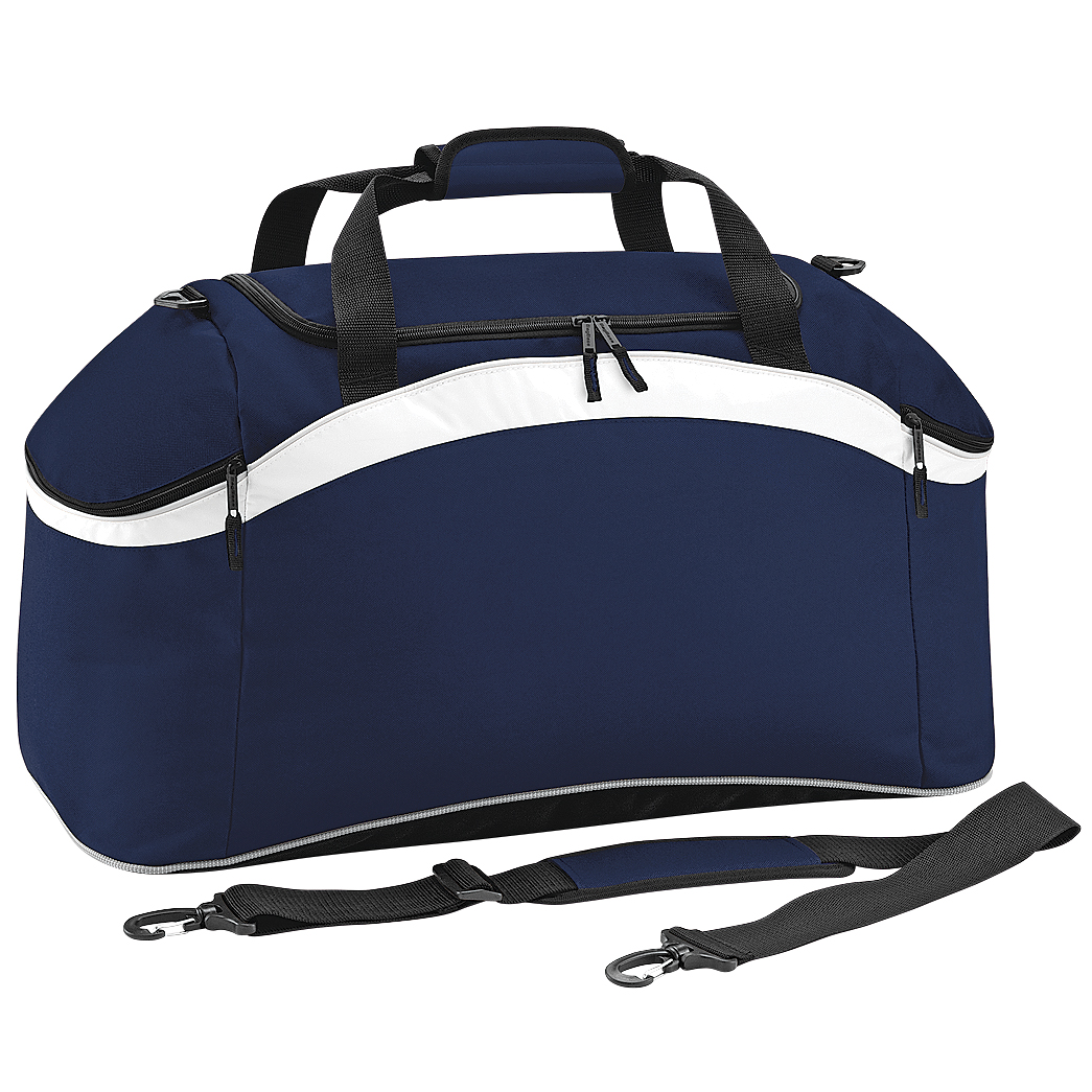 BagBase Teamwear Sport Holdall / Duffle Bag (54 Litres) (Pack of 2) (One Size) (French Navy/ White)