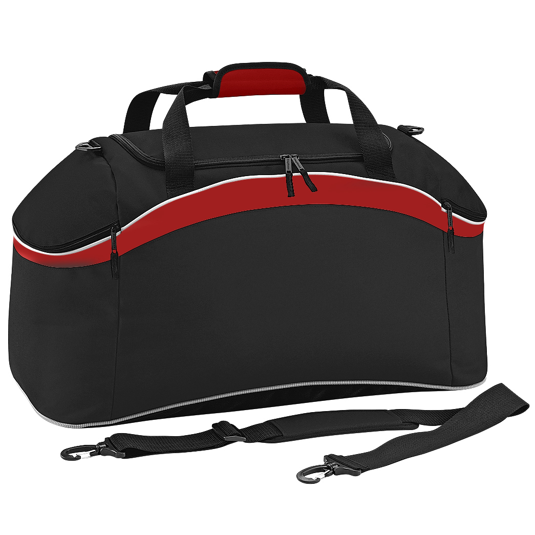BagBase Teamwear Sport Holdall / Duffle Bag (54 Litres) (Pack of 2) (One Size) (Black/ Classic Red/ White)