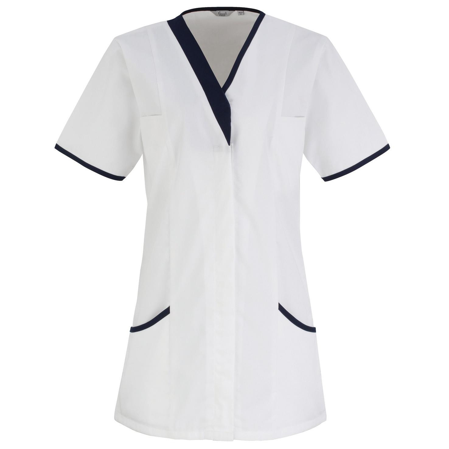 Premier Womens/Ladies Daisy Healthcare Work Tunic (Pack of 2) (20UK) (White/ Navy)