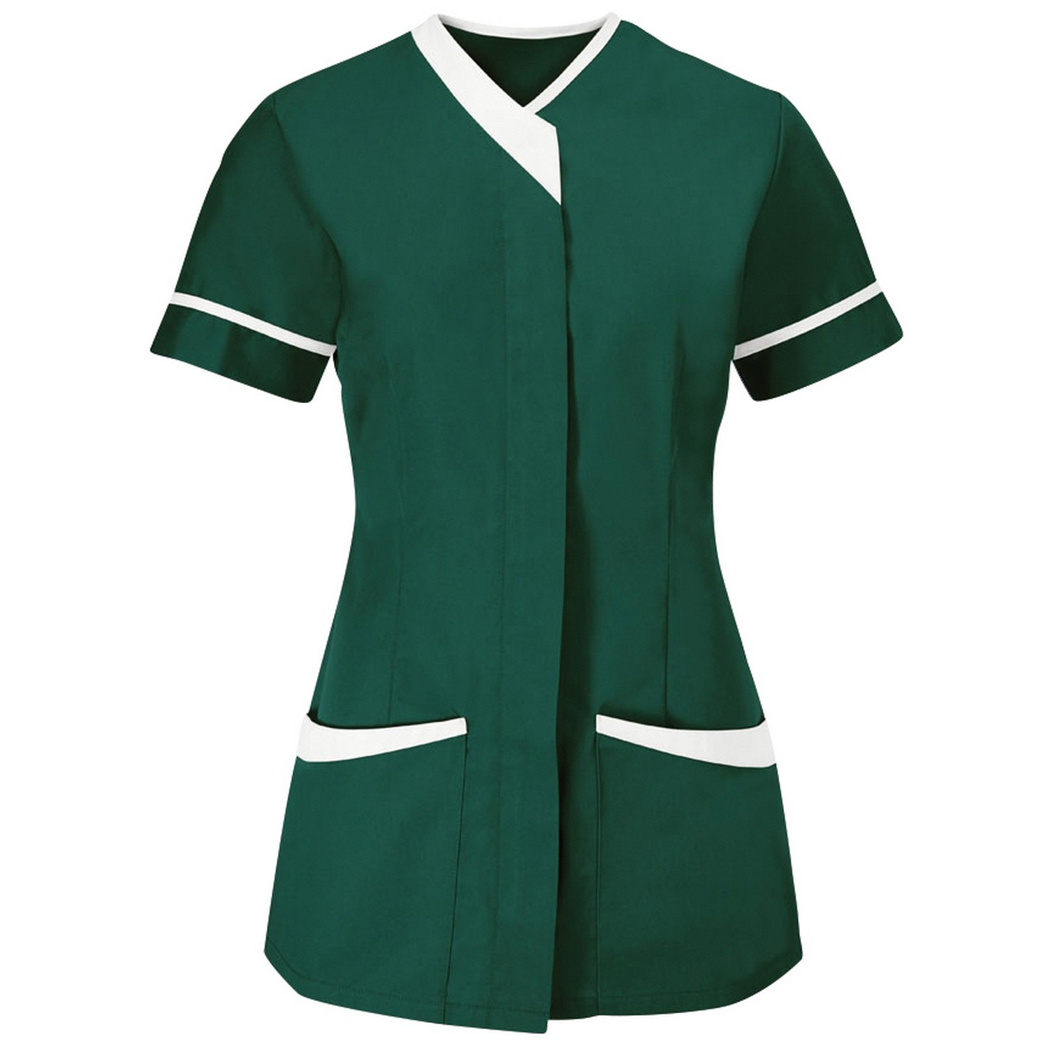 Alexandra Womens/Ladies Contrast Trim Medical/Healthcare Work Tunic (Pack of 2) (22) (Bottle Green/White)