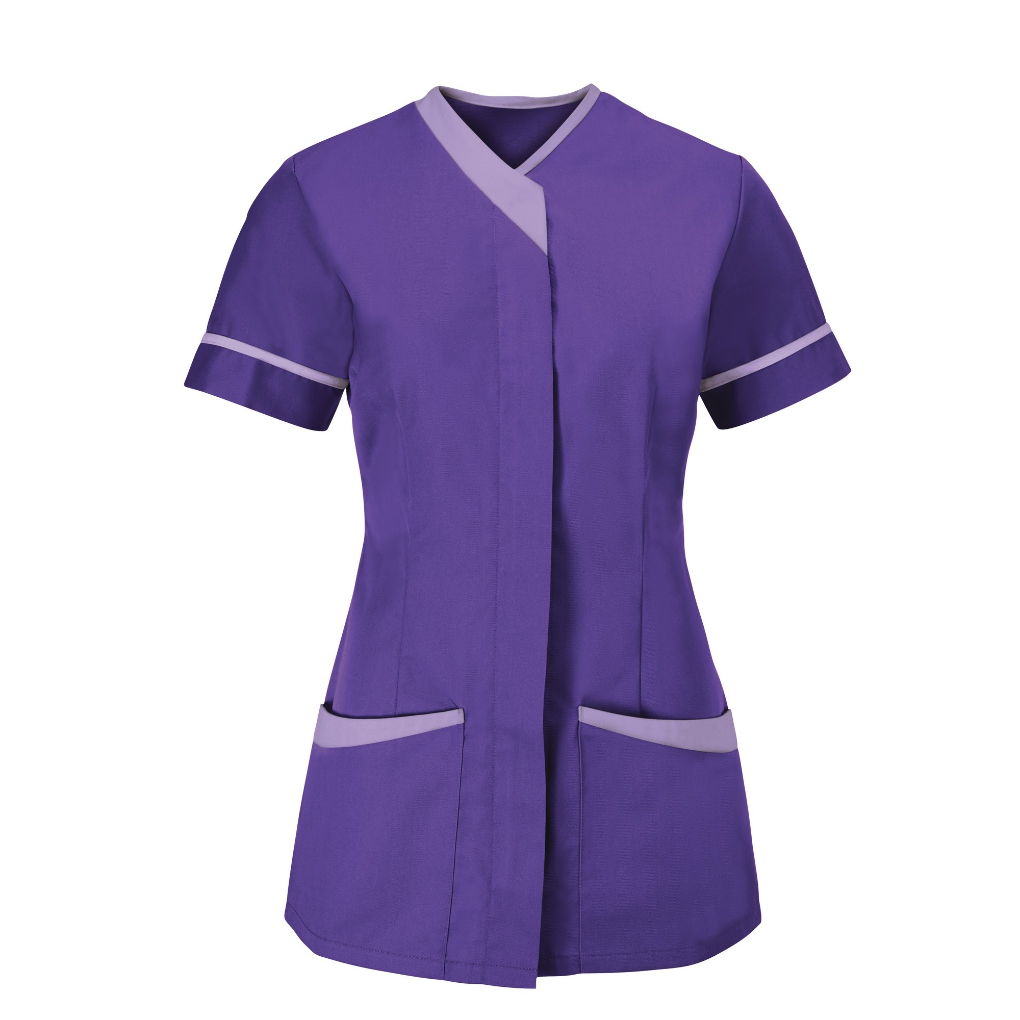 Alexandra Womens/Ladies Contrast Trim Medical/Healthcare Work Tunic (Pack of 2) (12) (Purple/Lilac)