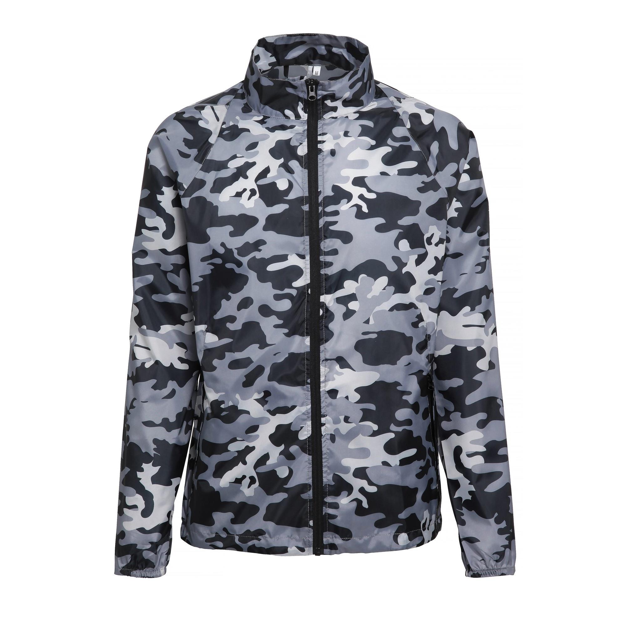 2786 Mens Contrast Lightweight Windcheater Shower Proof Jacket (Pack of 2) (M) (Bold Camo Grey)