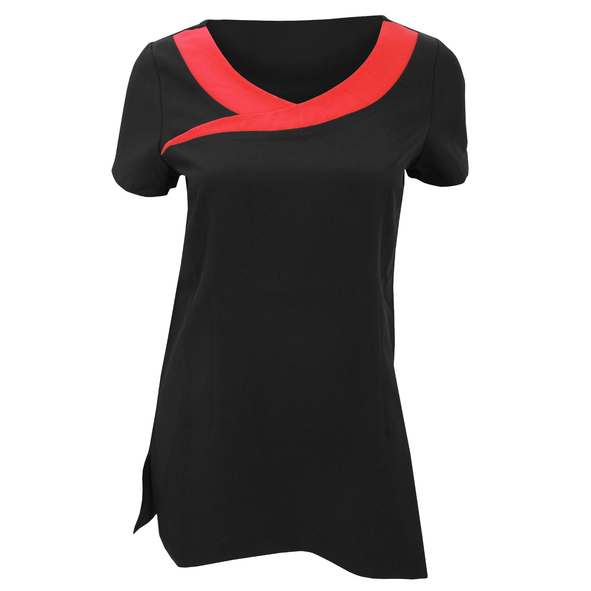 Premier Womens/Ladies Ivy Beauty And Spa Tunic (Contrast Neckline) (Pack of 2) (22) (Black / Strawberry Red)