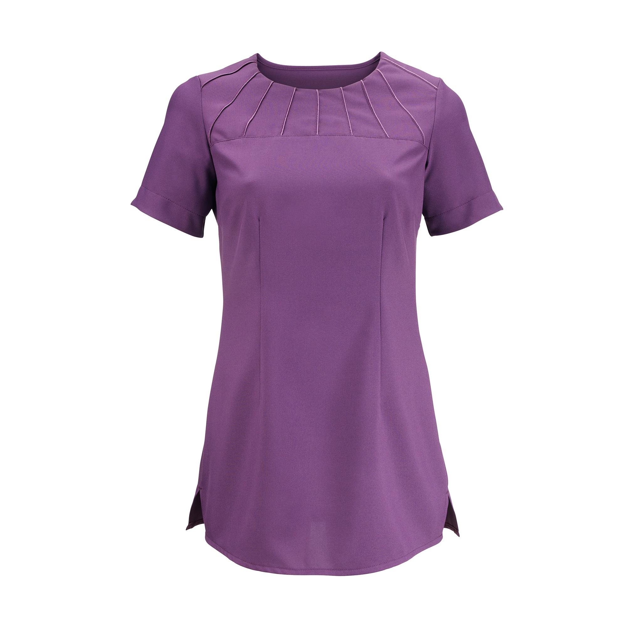 Alexandra Womens Satin Trim Tunic / Health Beauty & Spa / Workwear (Pack of 2) (10) (Amethyst)